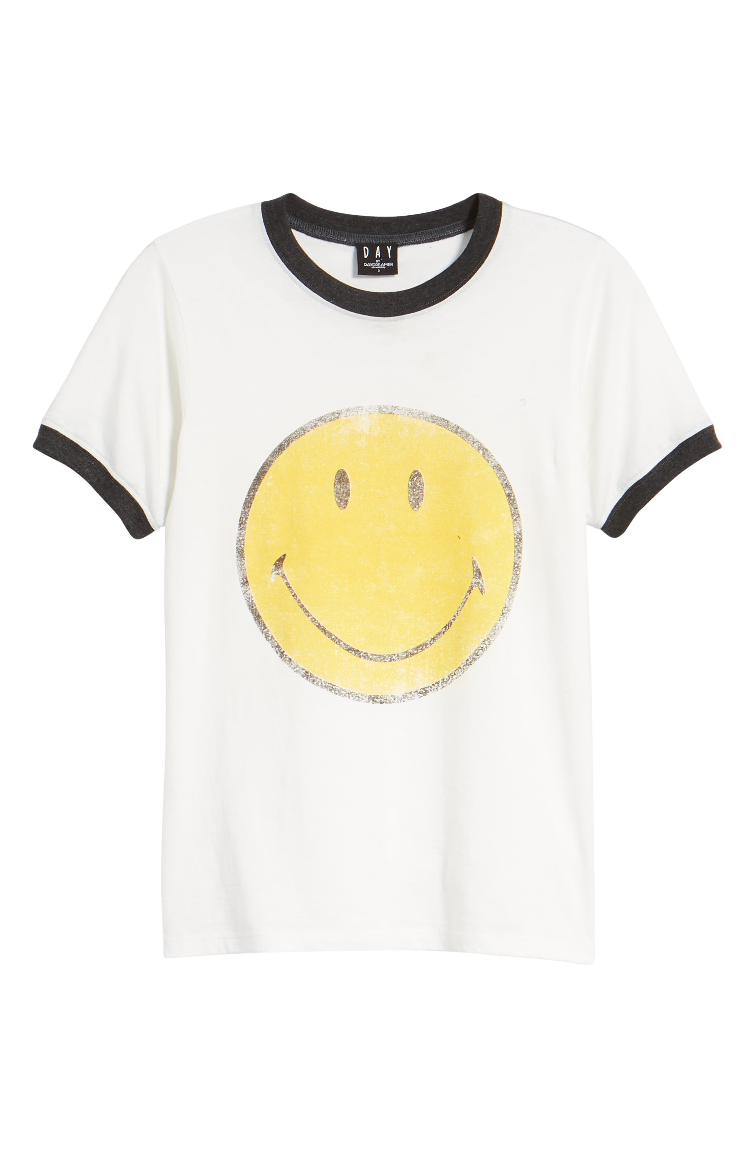 Smiley Ringer Tee,                             Alternate thumbnail 7, color,                             901