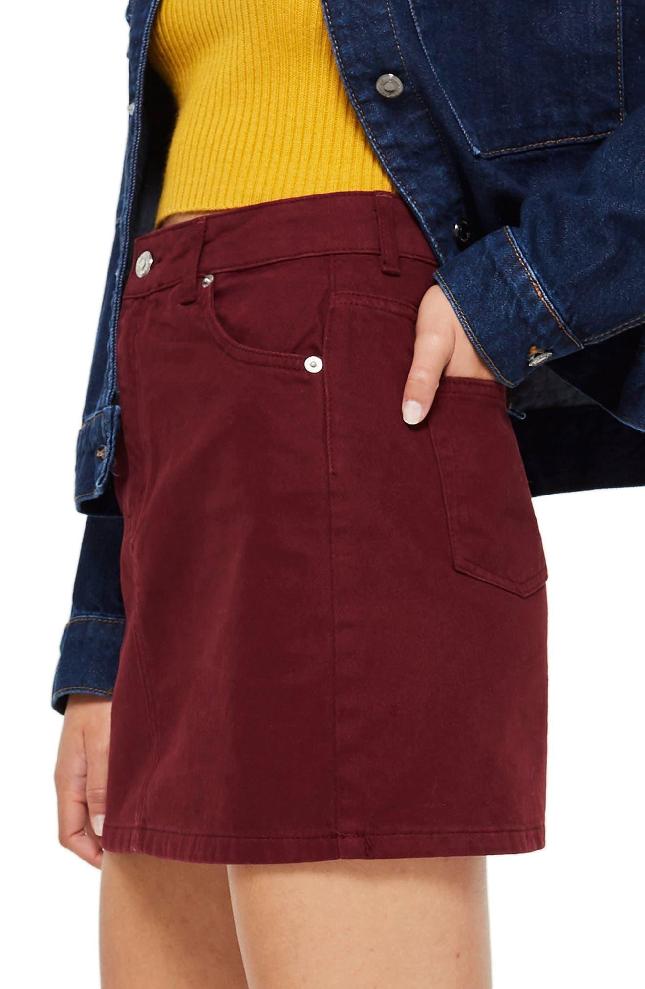 Bordeaux Denim Skirt,                             Alternate thumbnail 3, color,                             BURGUNDY