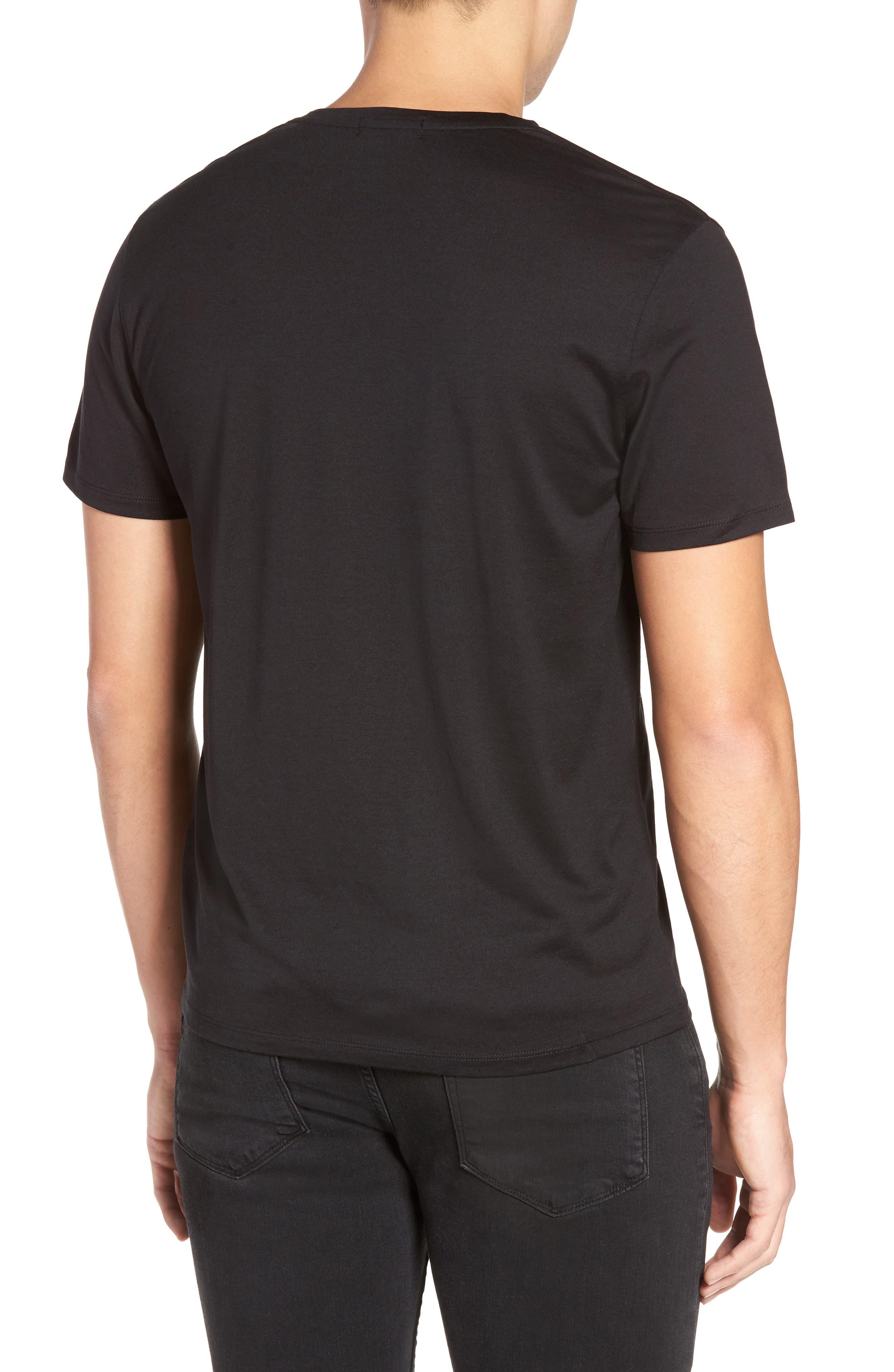 Silk & Cotton V-Neck T-Shirt,                             Alternate thumbnail 2, color,                             001