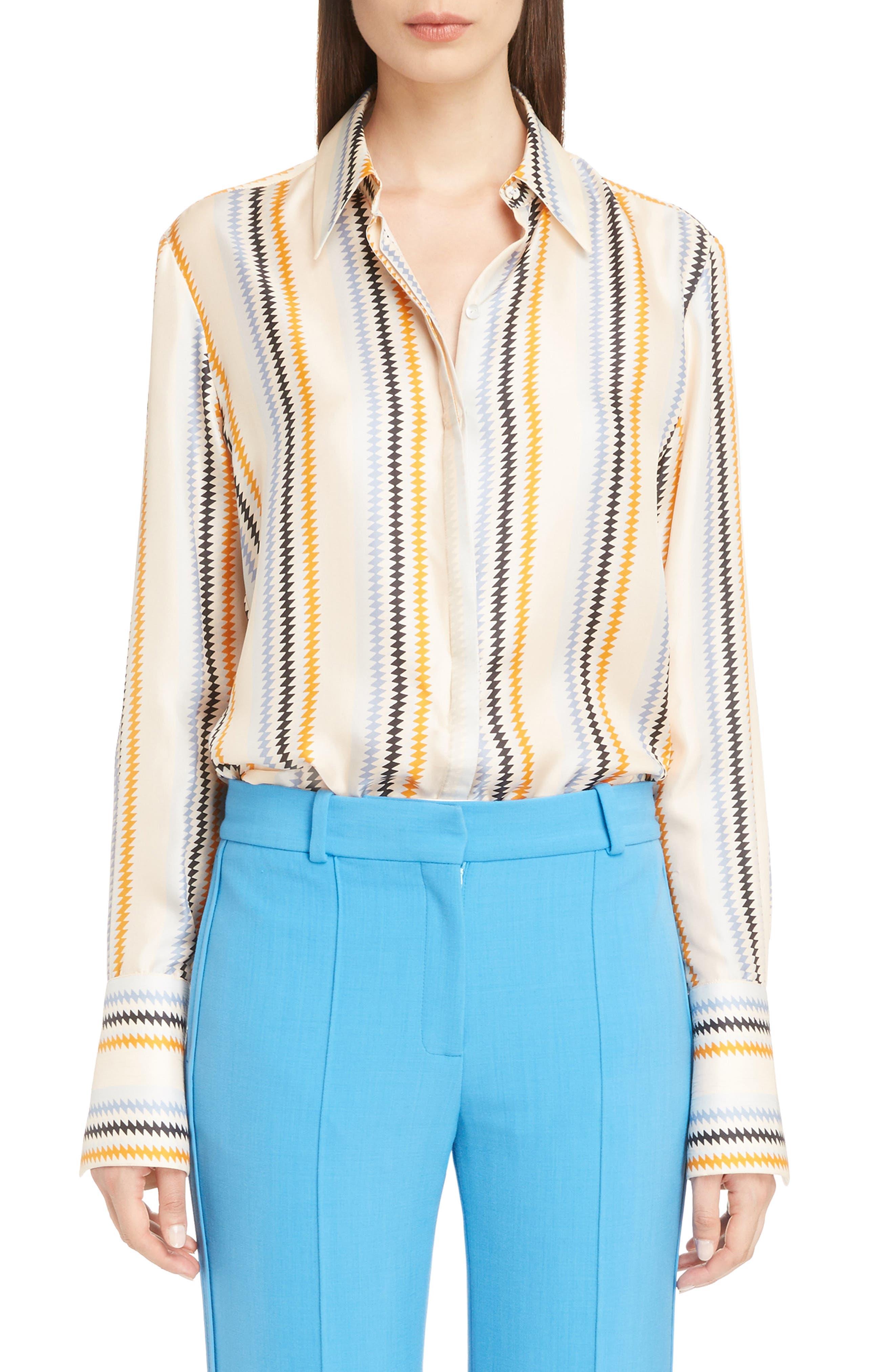 Fluid Stripe Silk Shirt,                         Main,                         color, 700