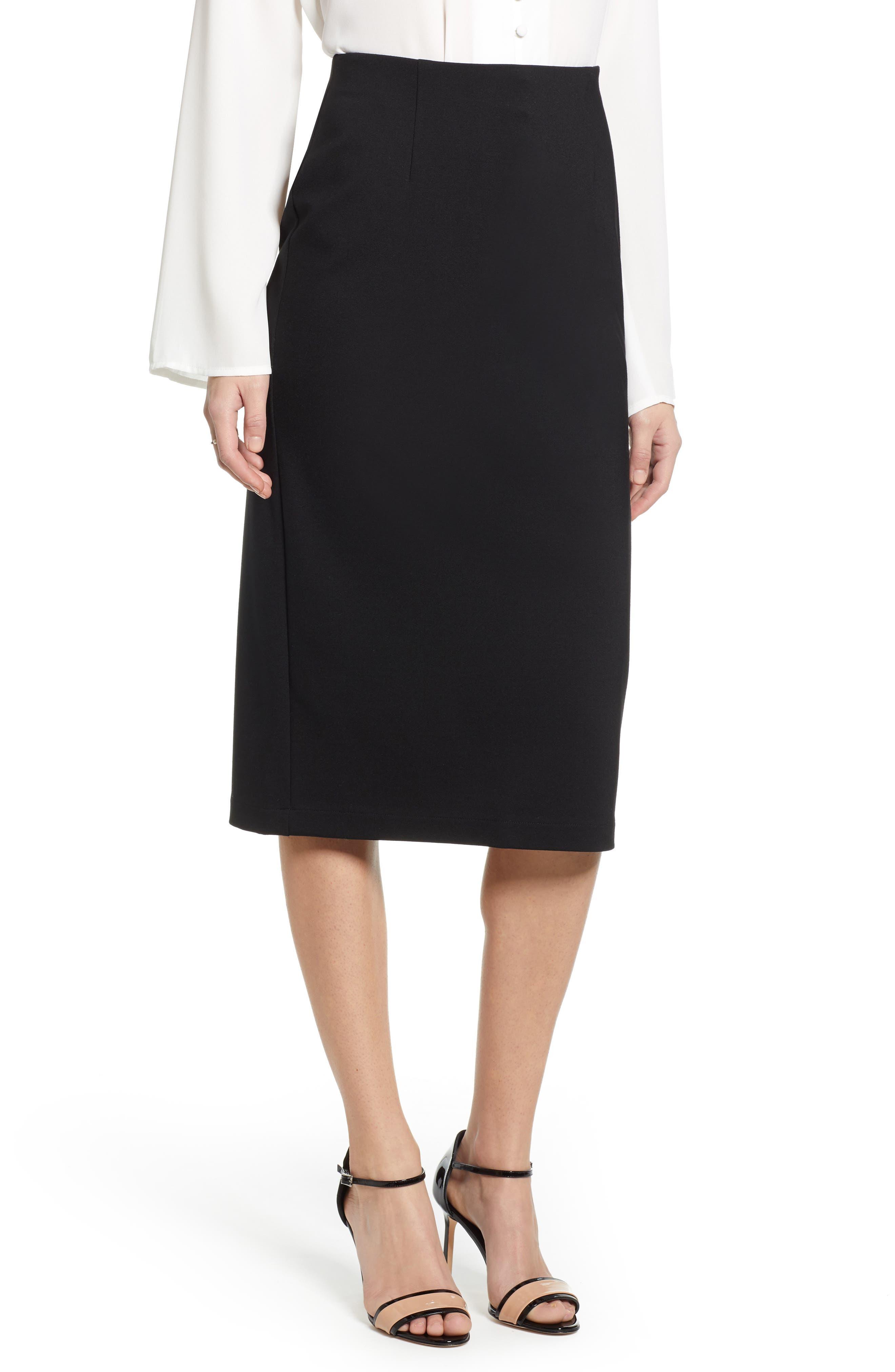Petite Halogen Ponte Pencil Skirt, Black