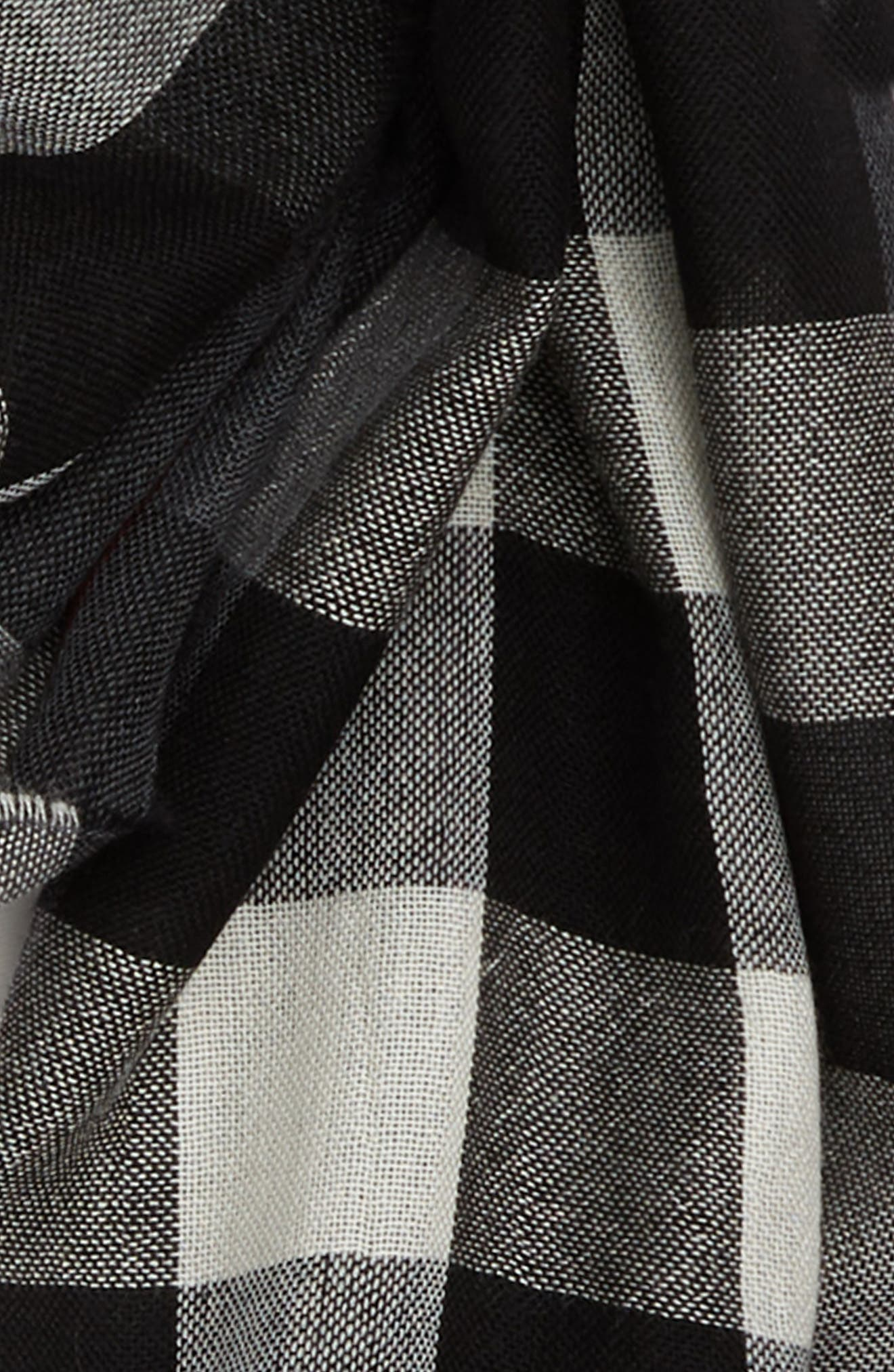 Tonal Lightweight Check Cashmere Wool Scarf,                             Alternate thumbnail 3, color,                             001