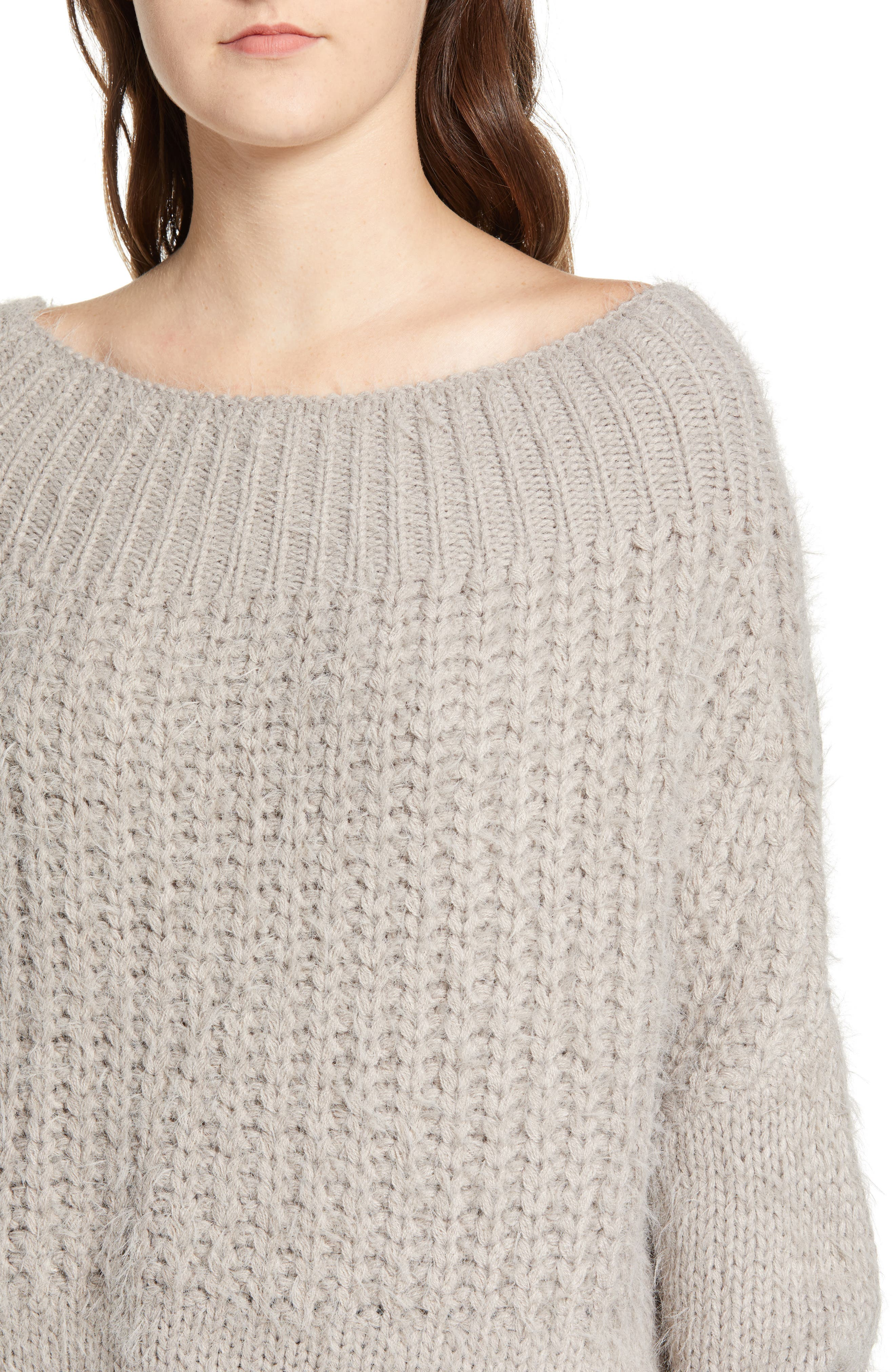 DREAMERS BY DEBUT,                             Boatneck Knit Pullover,                             Alternate thumbnail 4, color,                             MICRO GREY
