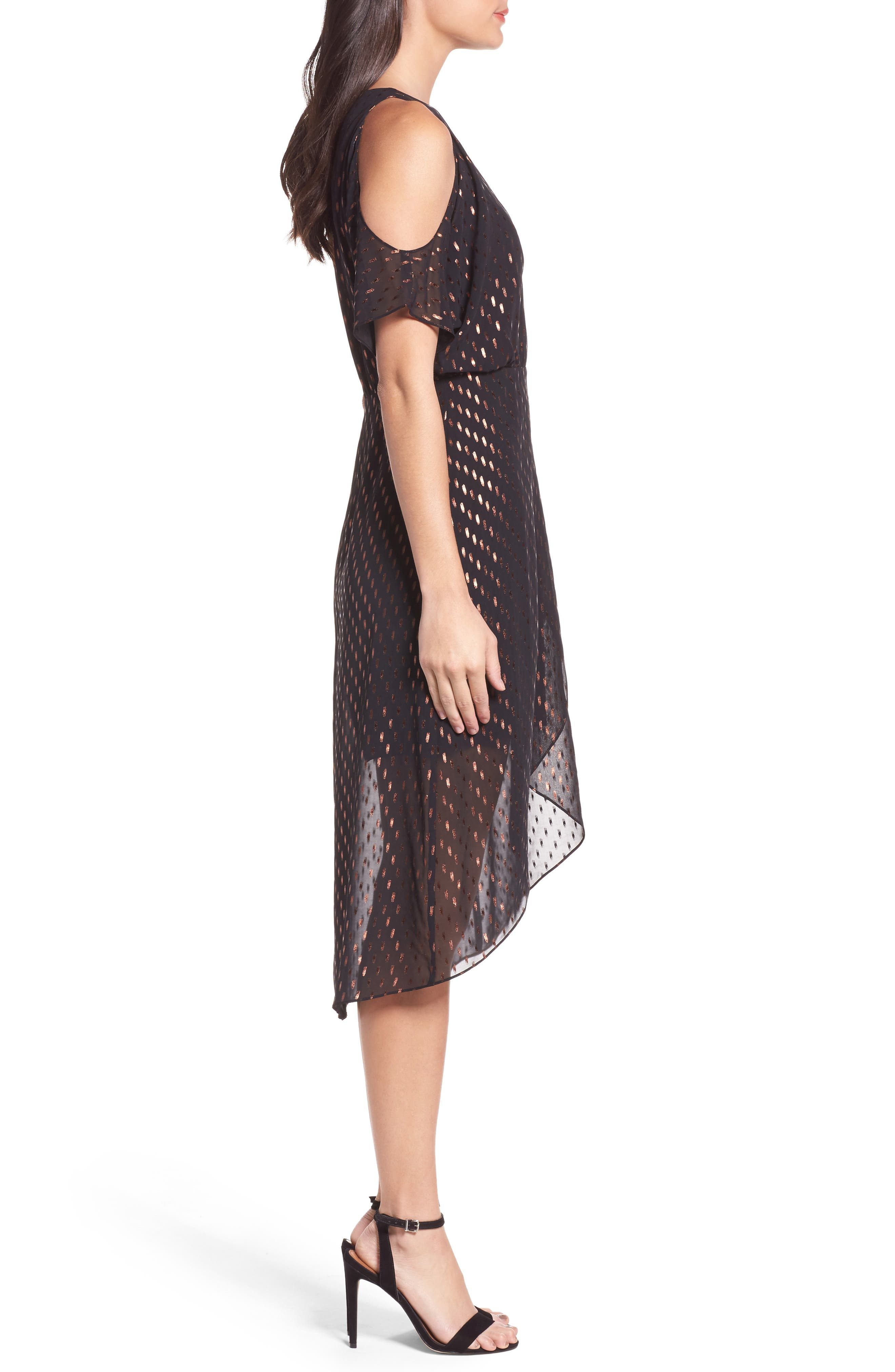 You Can't Handle All This Sparkle Cold Shoulder Dress,                             Alternate thumbnail 3, color,                             010