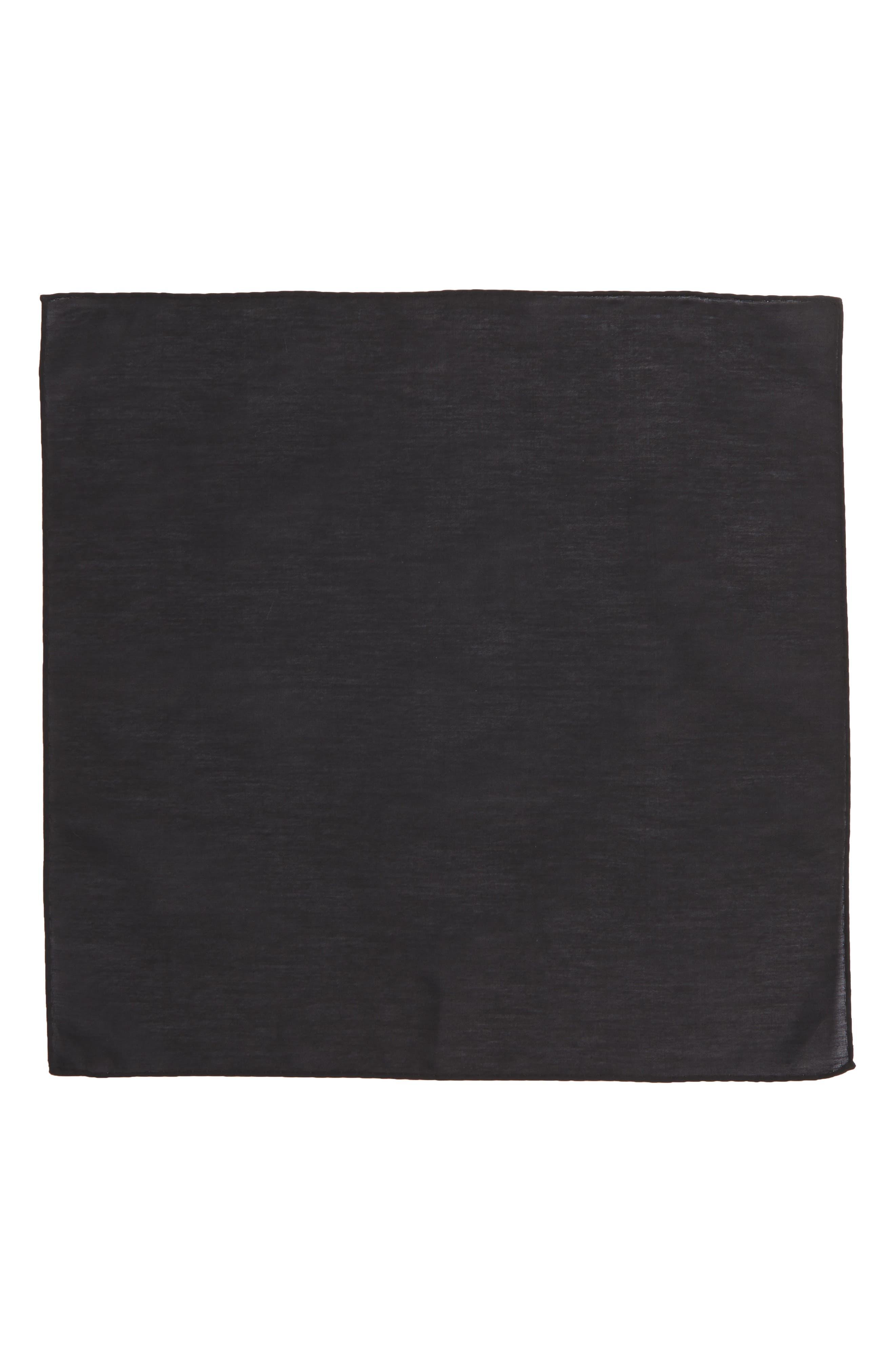 Solid Cotton & Silk Pocket Square,                             Alternate thumbnail 2, color,                             001