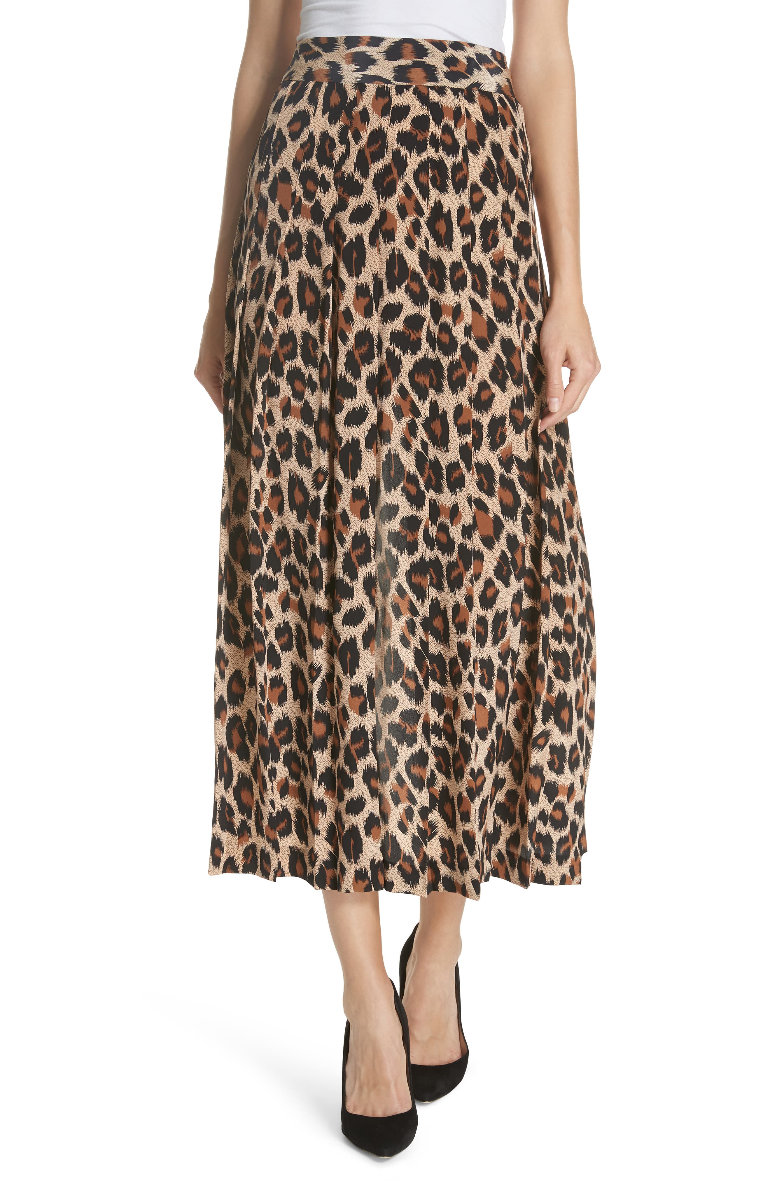 Leopard Print Pleated Silk Skirt,                             Main thumbnail 1, color,                             LEOPARD