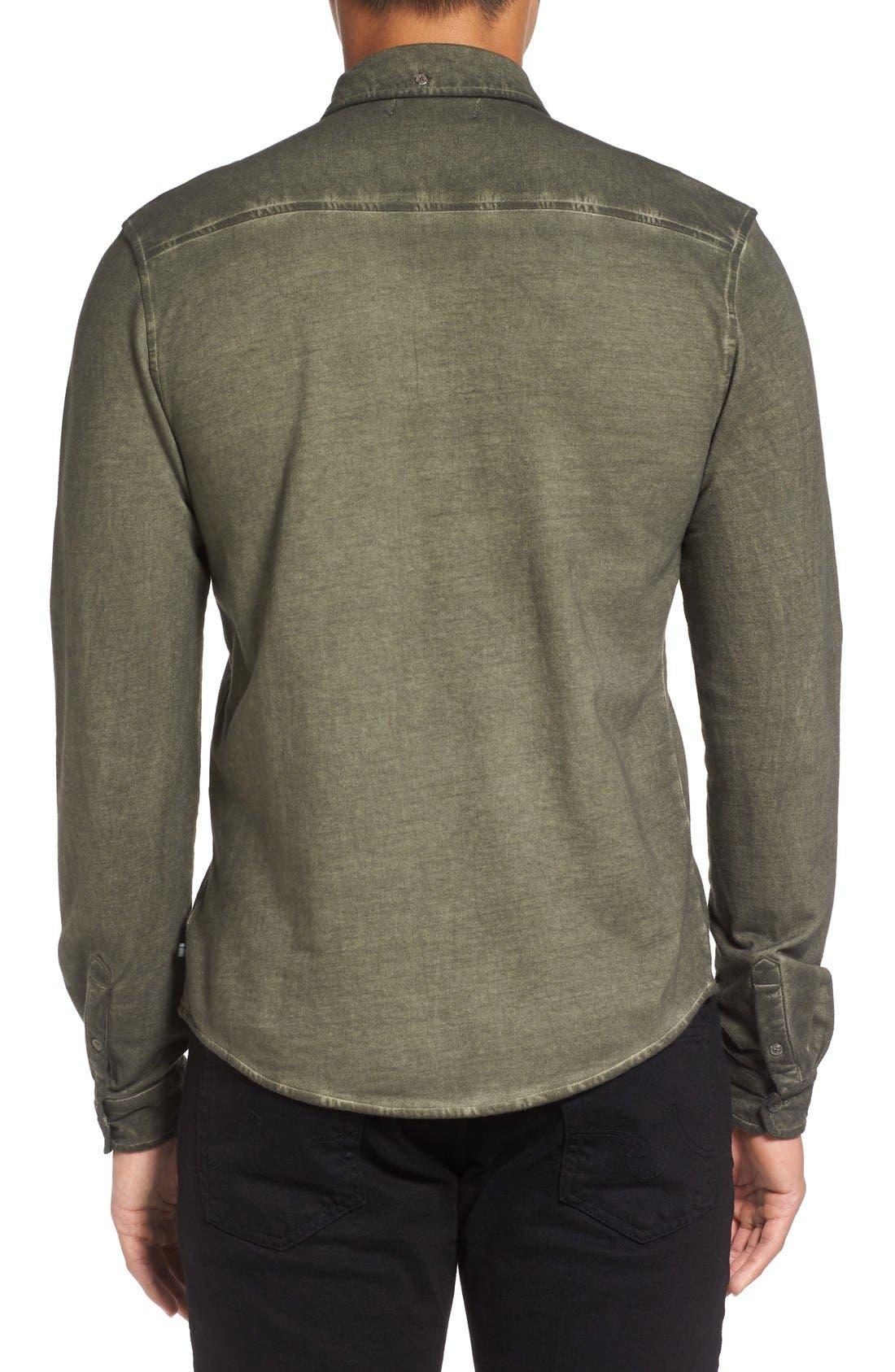Slim Fit Garment Washed Sport Shirt,                             Alternate thumbnail 6, color,