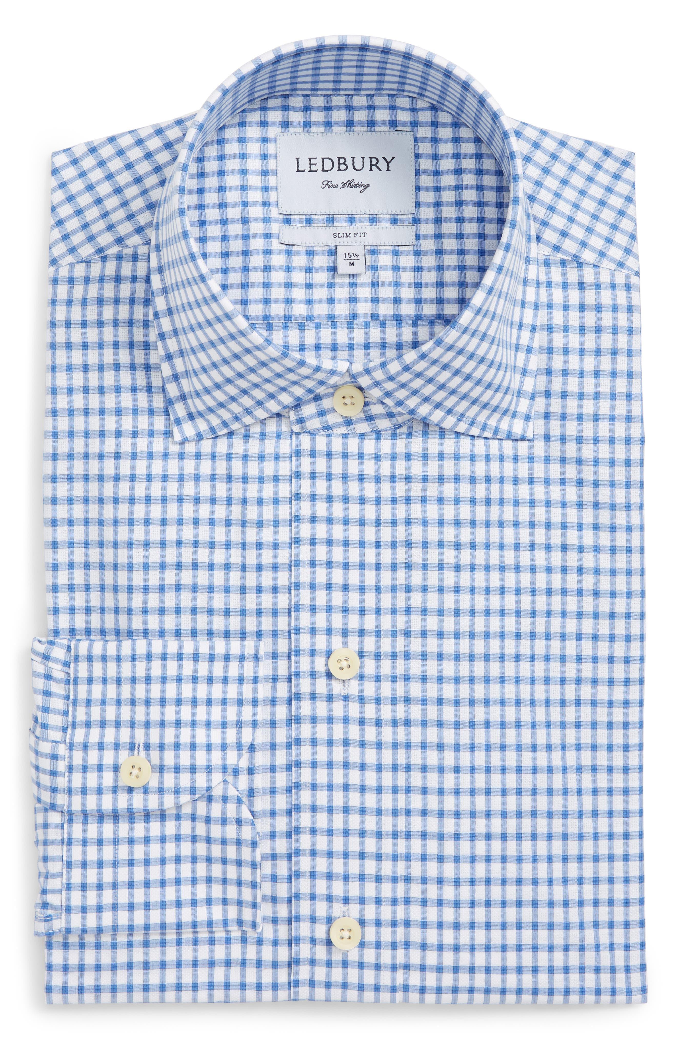 Garrison Slim Fit Check Dress Shirt,                             Alternate thumbnail 5, color,