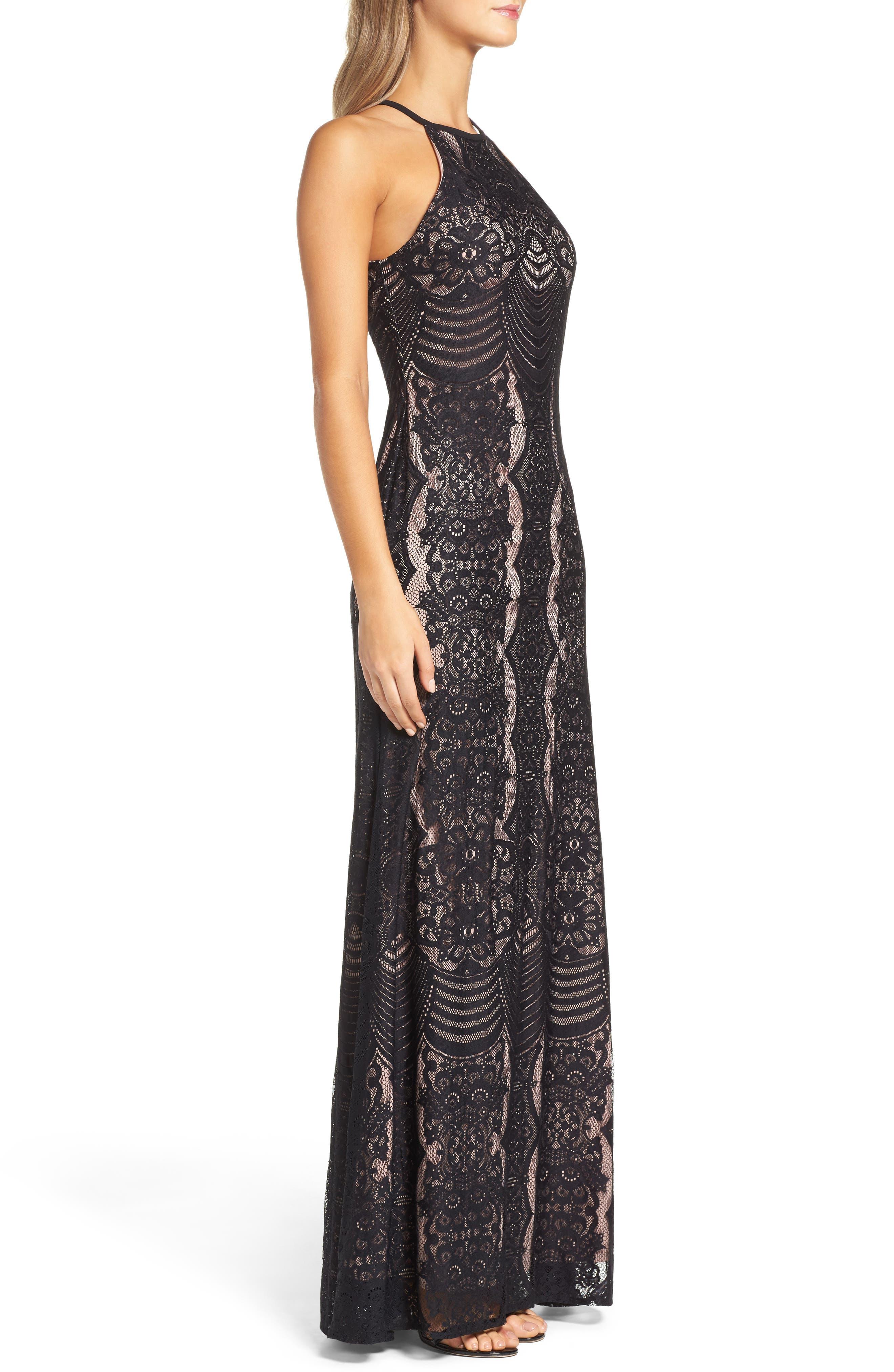 MORGAN & CO.,                             Lace Halter Gown,                             Alternate thumbnail 3, color,                             BLACK/ NUDE