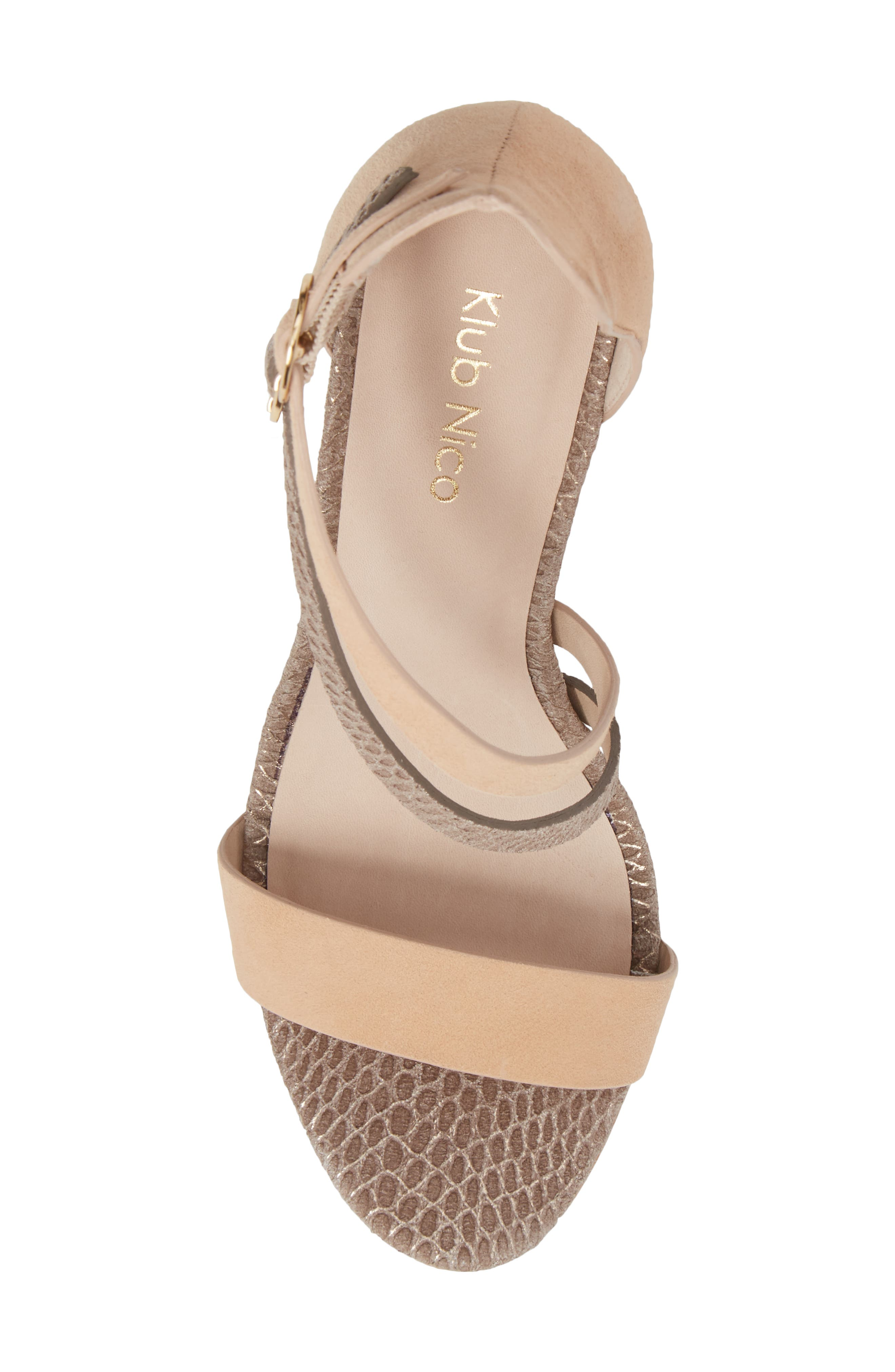 Arden Sandal,                             Alternate thumbnail 5, color,                             PEONY/ PEWTER EMBOSSED LEATHER