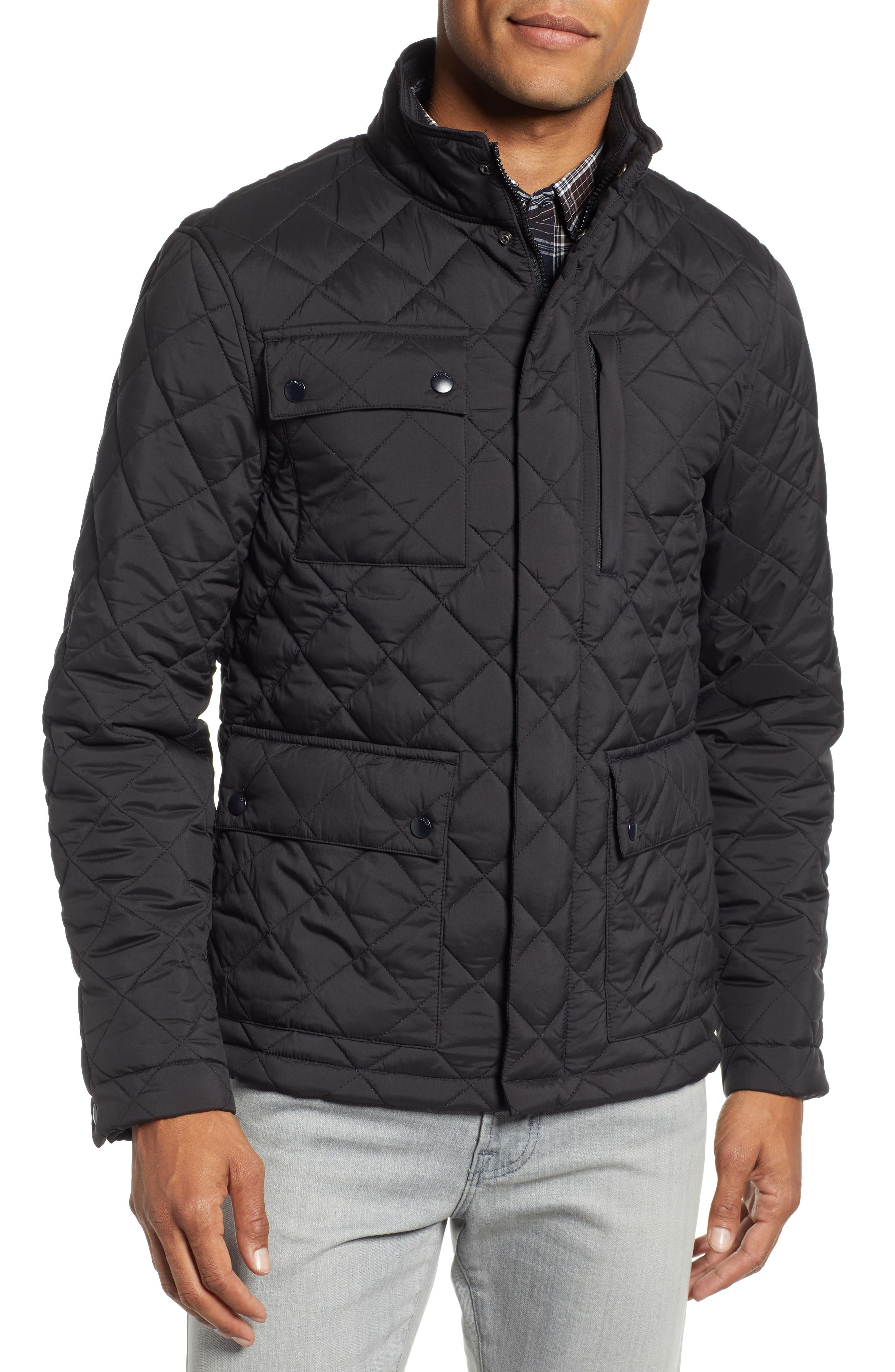 Banff Quilted Jacket,                             Alternate thumbnail 4, color,                             BLACK
