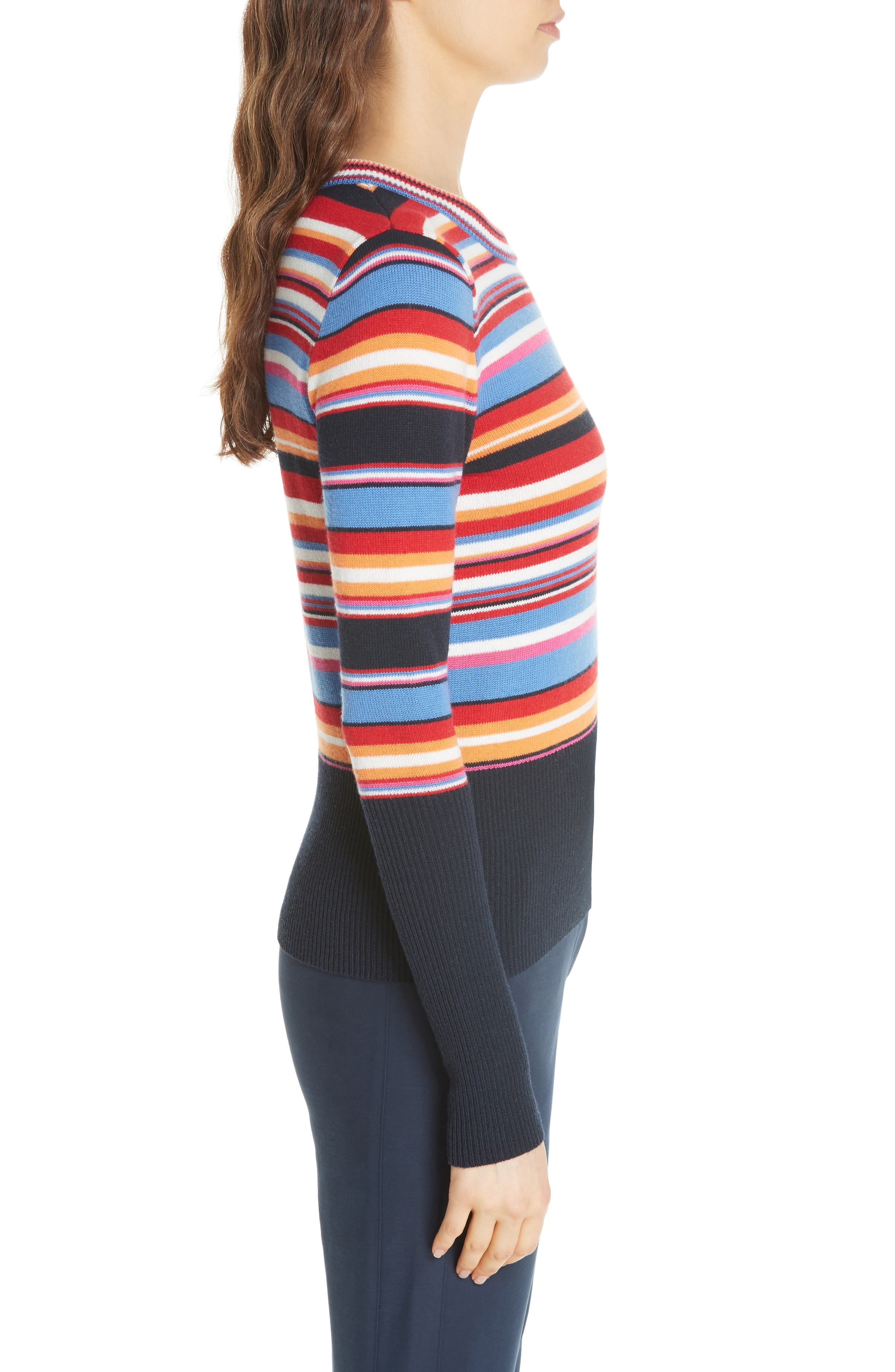 Kit Stripe Scoop Neck Sweater,                             Alternate thumbnail 3, color,                             TORY NAY