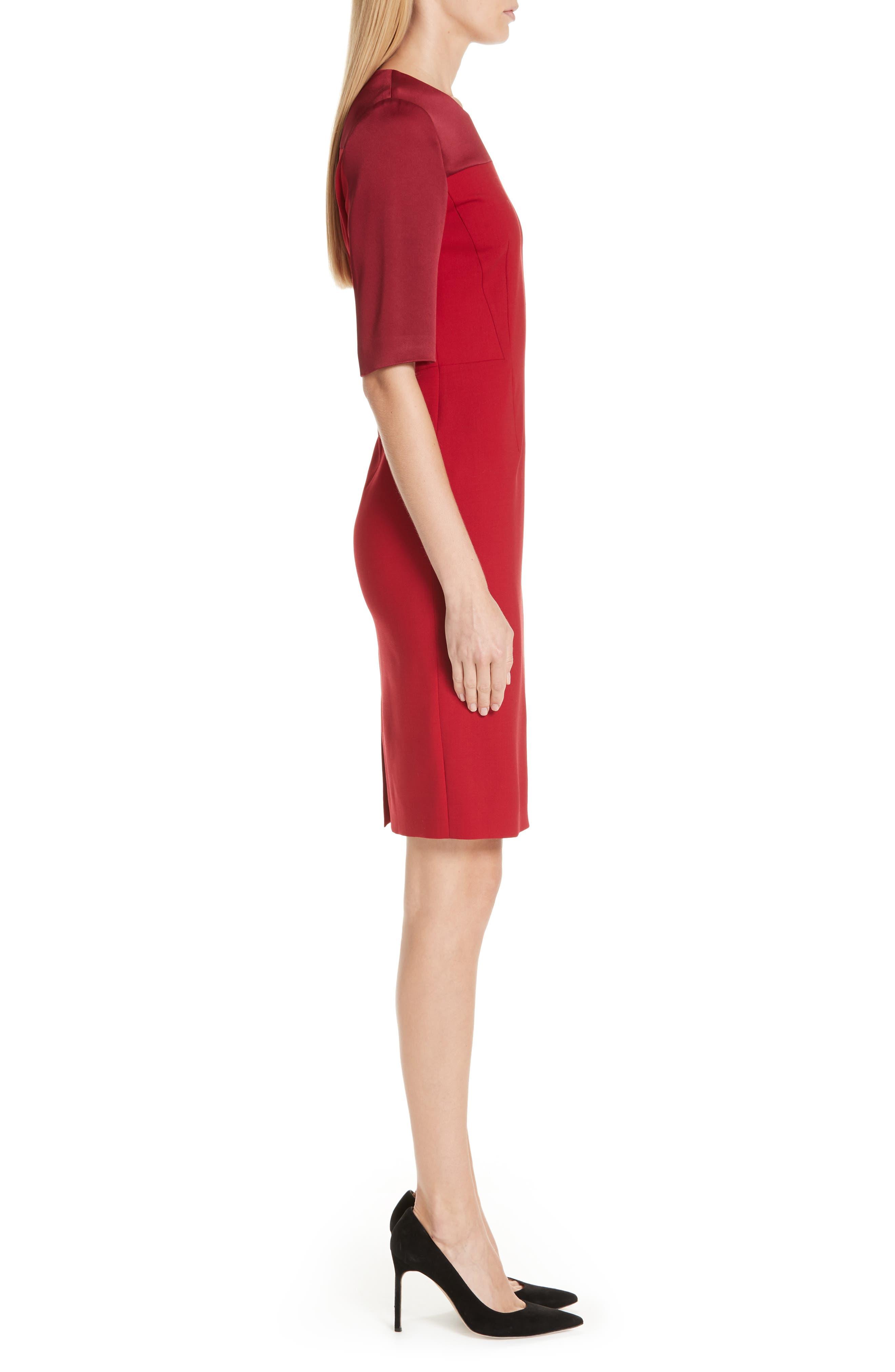 Danufa Stretch Wool Sheath Dress,                             Alternate thumbnail 3, color,                             DARK RED
