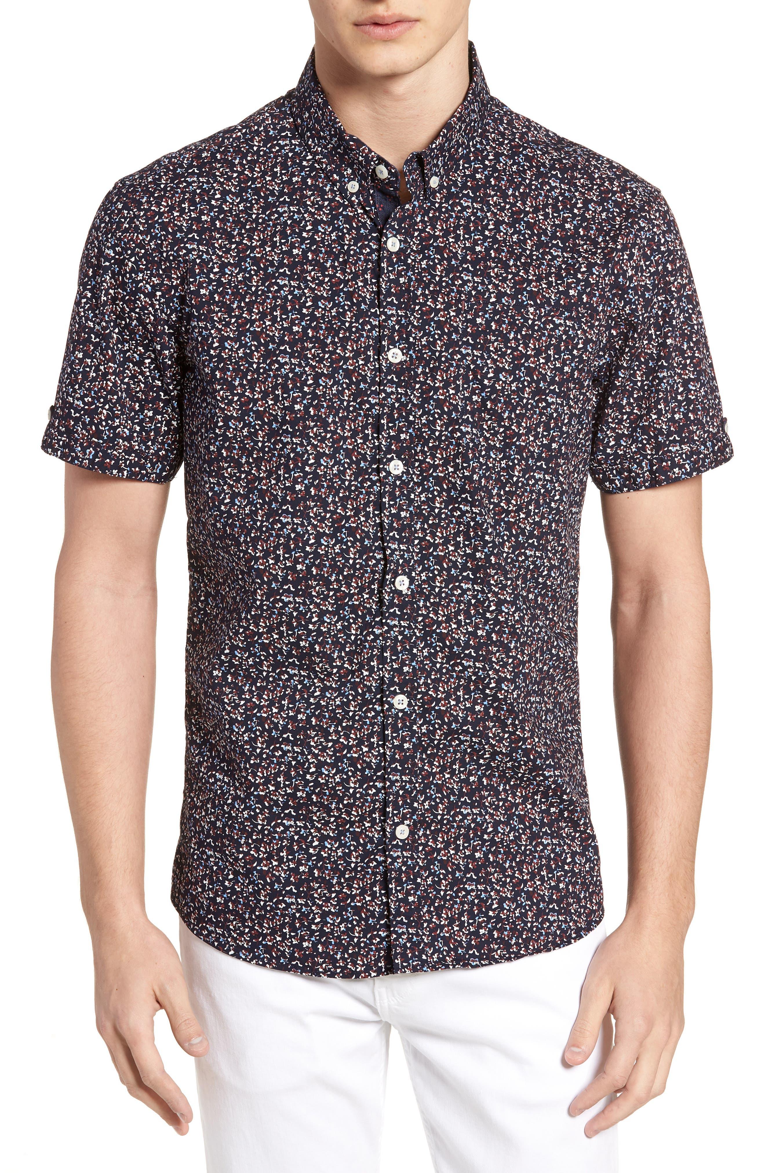 Dark Star Floral Print Sport Shirt,                             Main thumbnail 1, color,