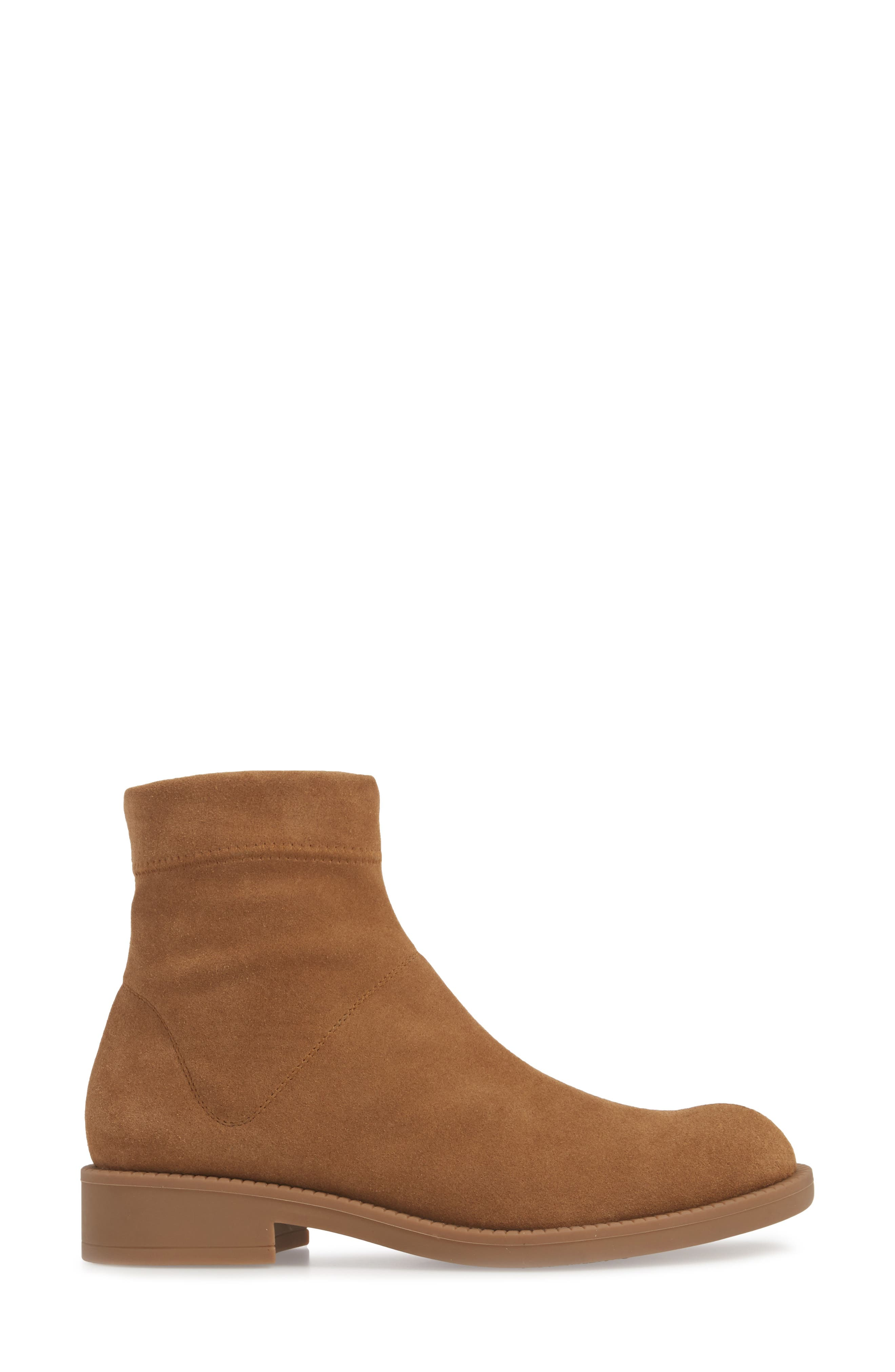 Kana Low Bootie,                             Alternate thumbnail 3, color,                             TOBACCO STRETCH  SUEDE