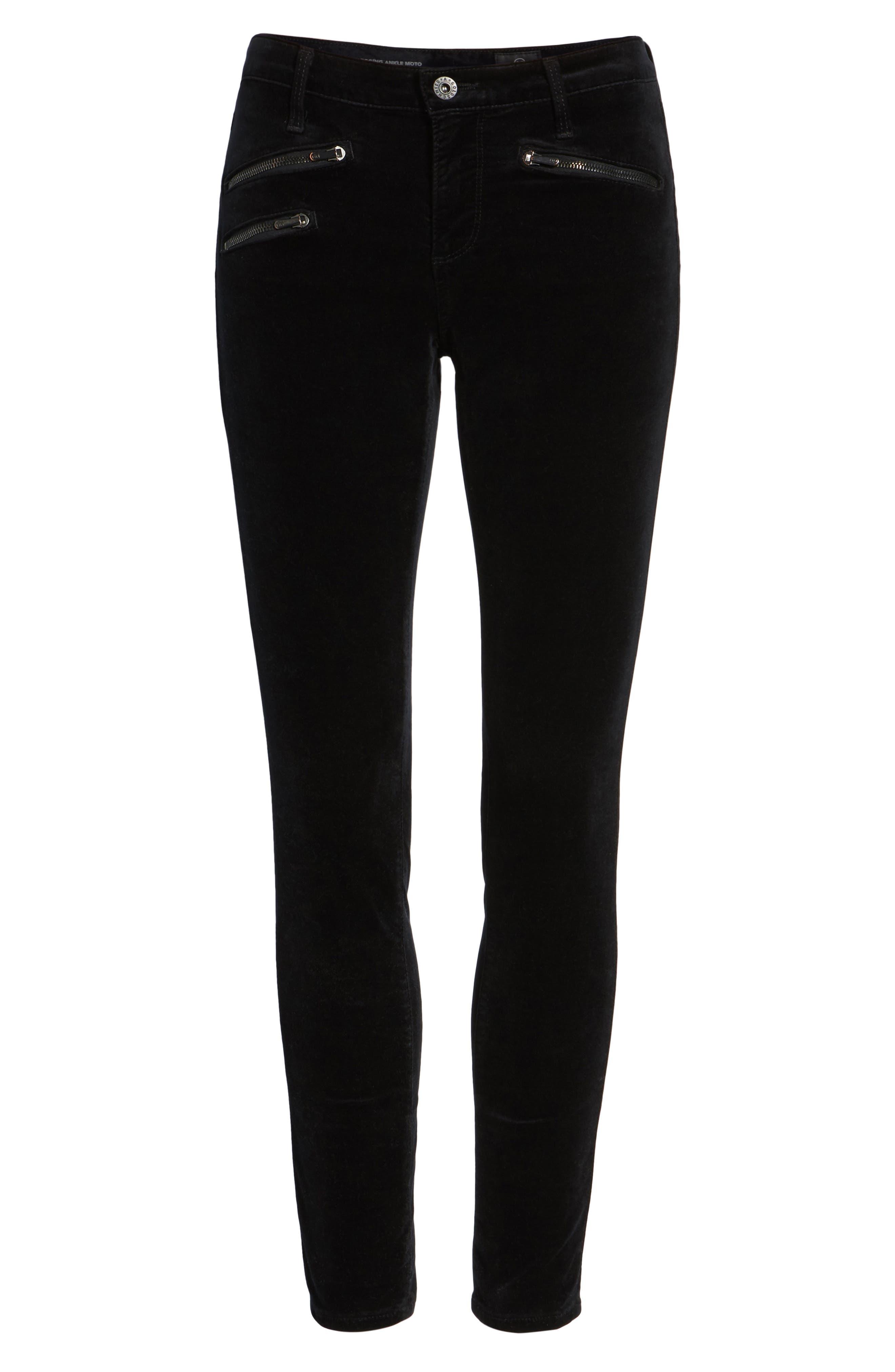 AG,                             The Legging Ankle Skinny Moto Velvet Pants,                             Alternate thumbnail 6, color,                             010
