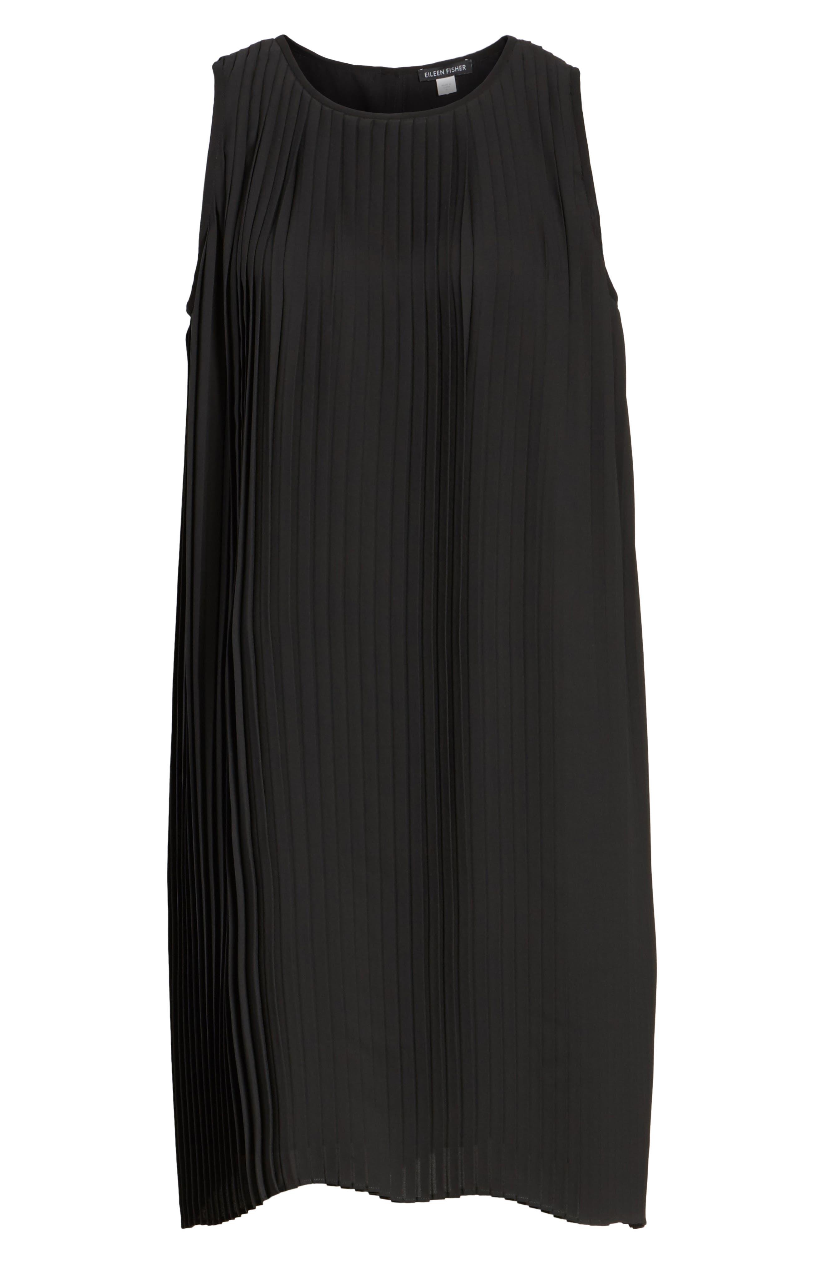 Pleated Shift Dress,                             Alternate thumbnail 6, color,                             001
