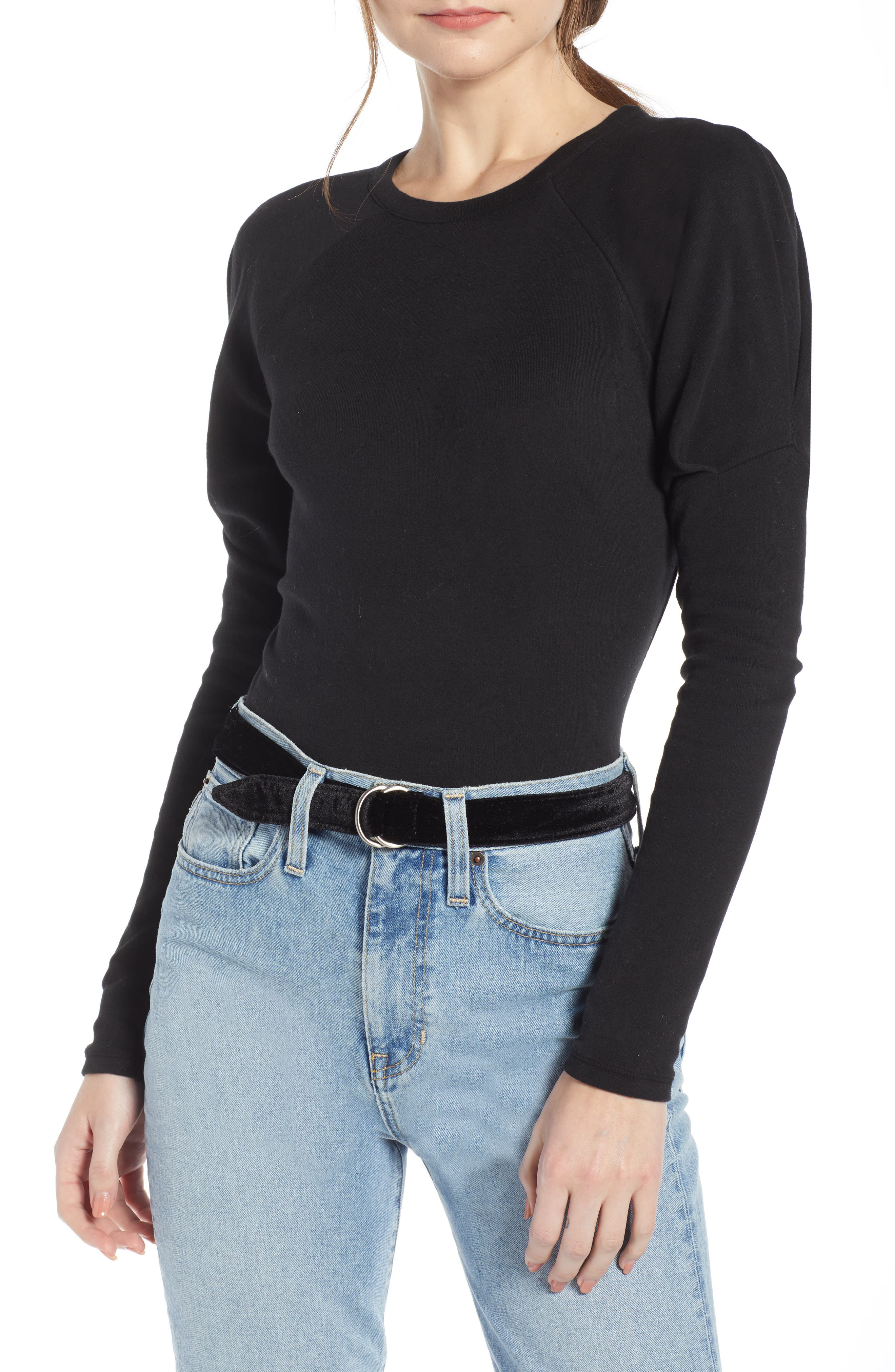 Puff Sleeve Stretch Cotton Tee, Main, color, 001