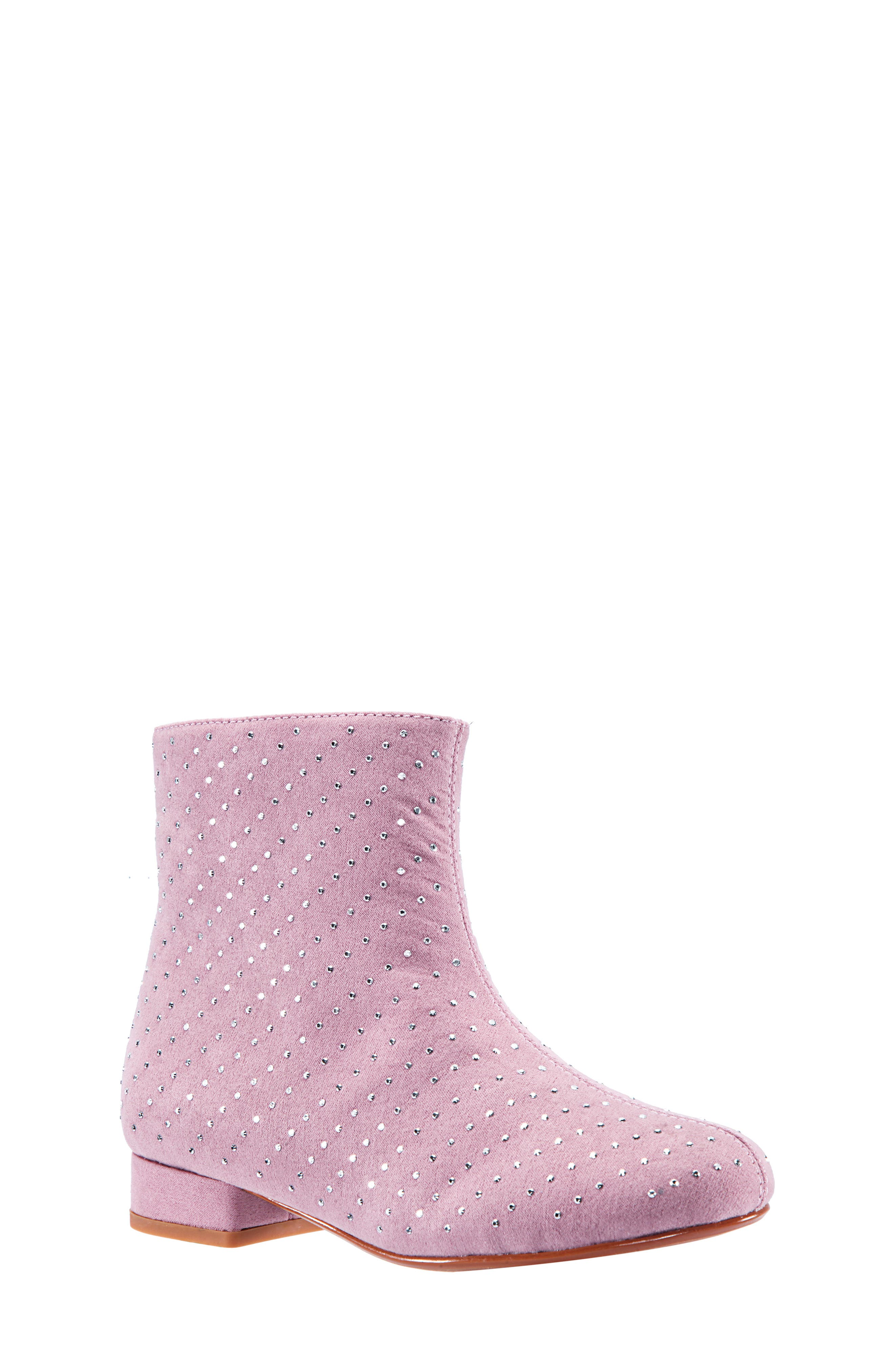 Peaches Studded Bootie,                             Main thumbnail 1, color,                             PINK MICRO SUEDE
