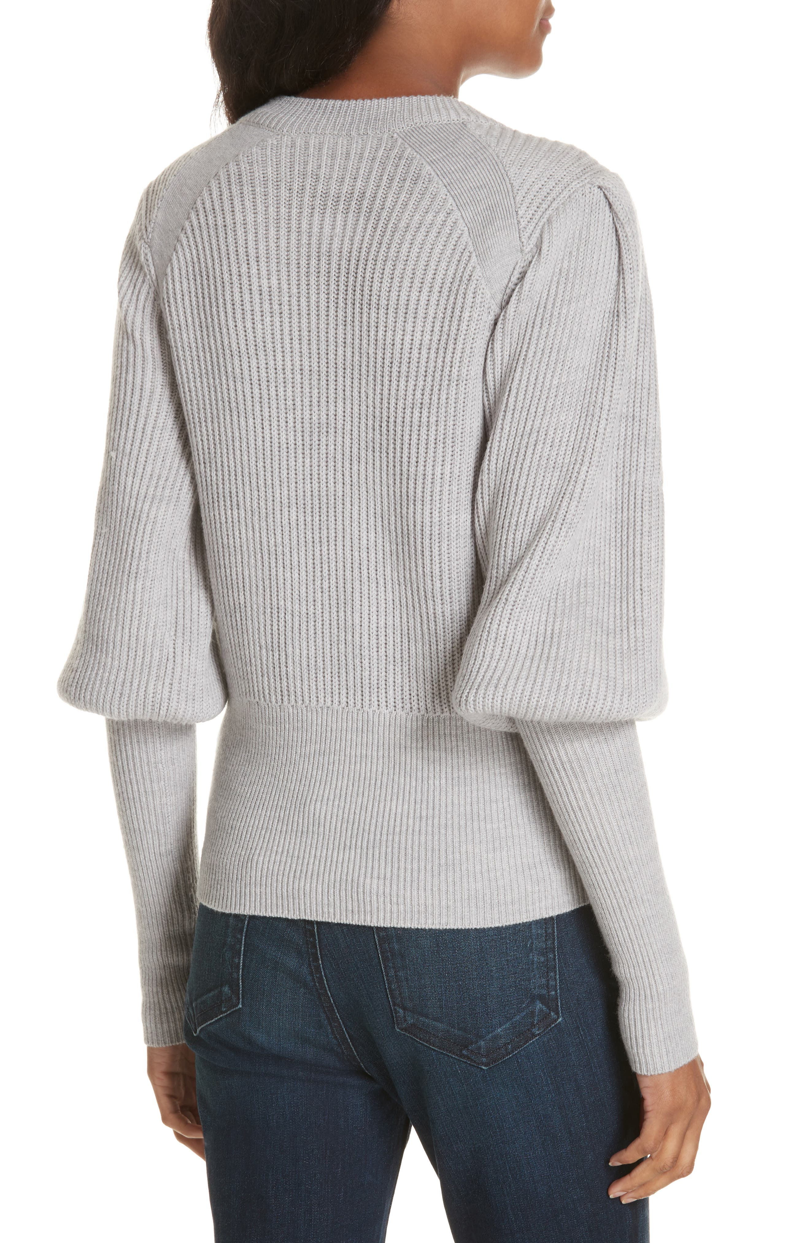 Veronica Beard Jude Crystal Button Merino Wool Sweater