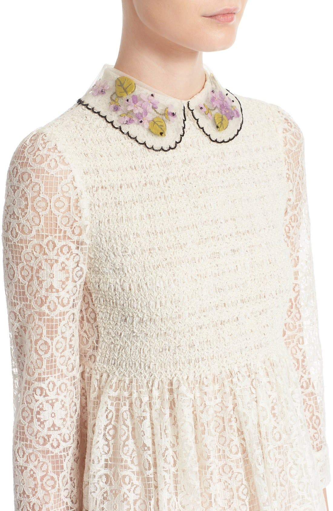 RED VALENTINO,                             Smocked Bodice Lace Dress,                             Alternate thumbnail 2, color,                             900