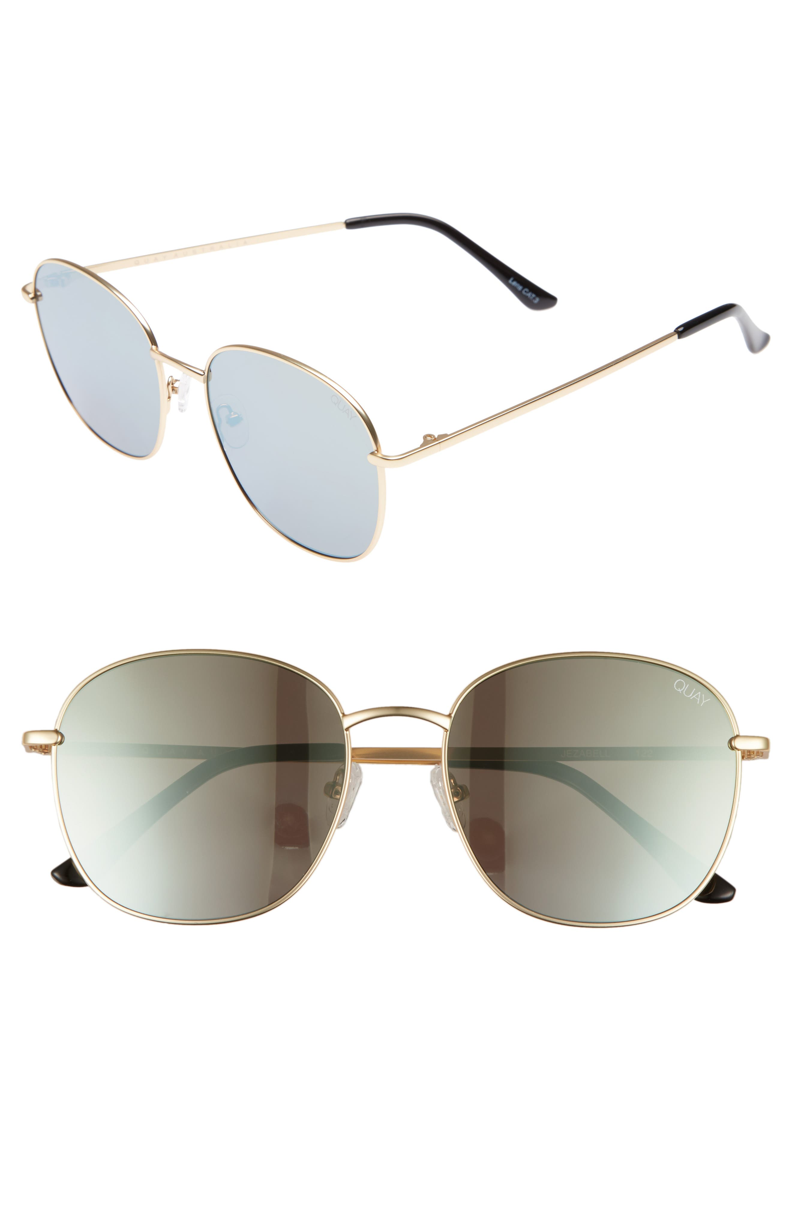 Jezabell 57mm Round Sunglasses,                         Main,                         color, GOLD/ GOLD