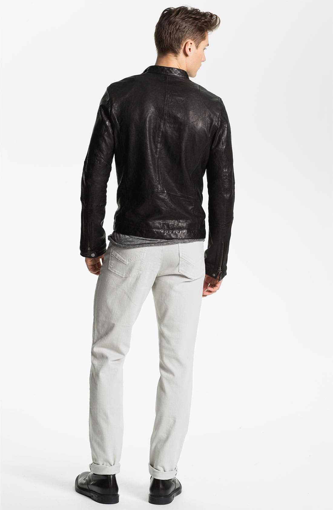 Leather Jacket,                             Alternate thumbnail 2, color,                             001