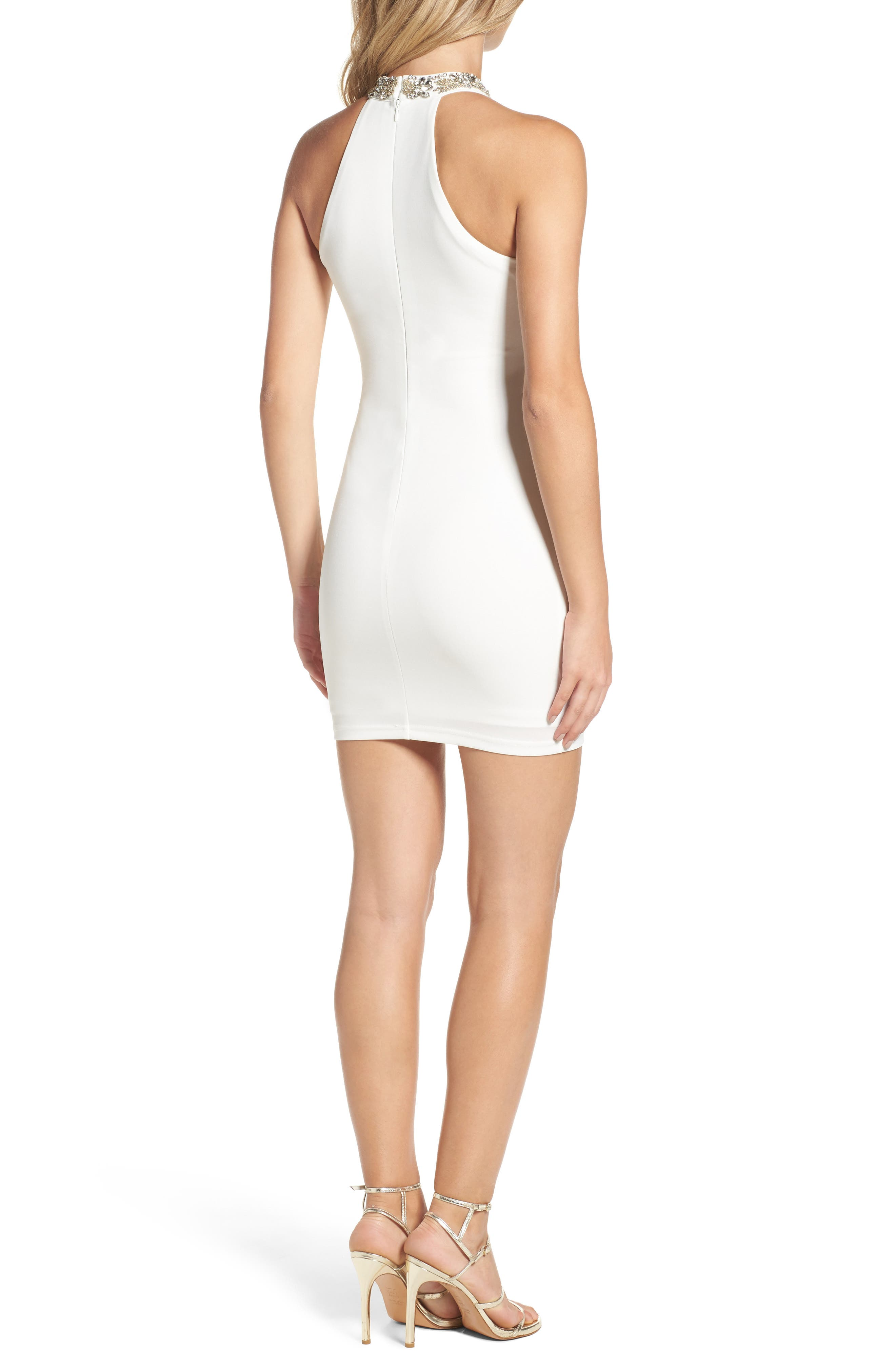 Alluring Evening Beaded Body-Con Dress,                             Alternate thumbnail 4, color,