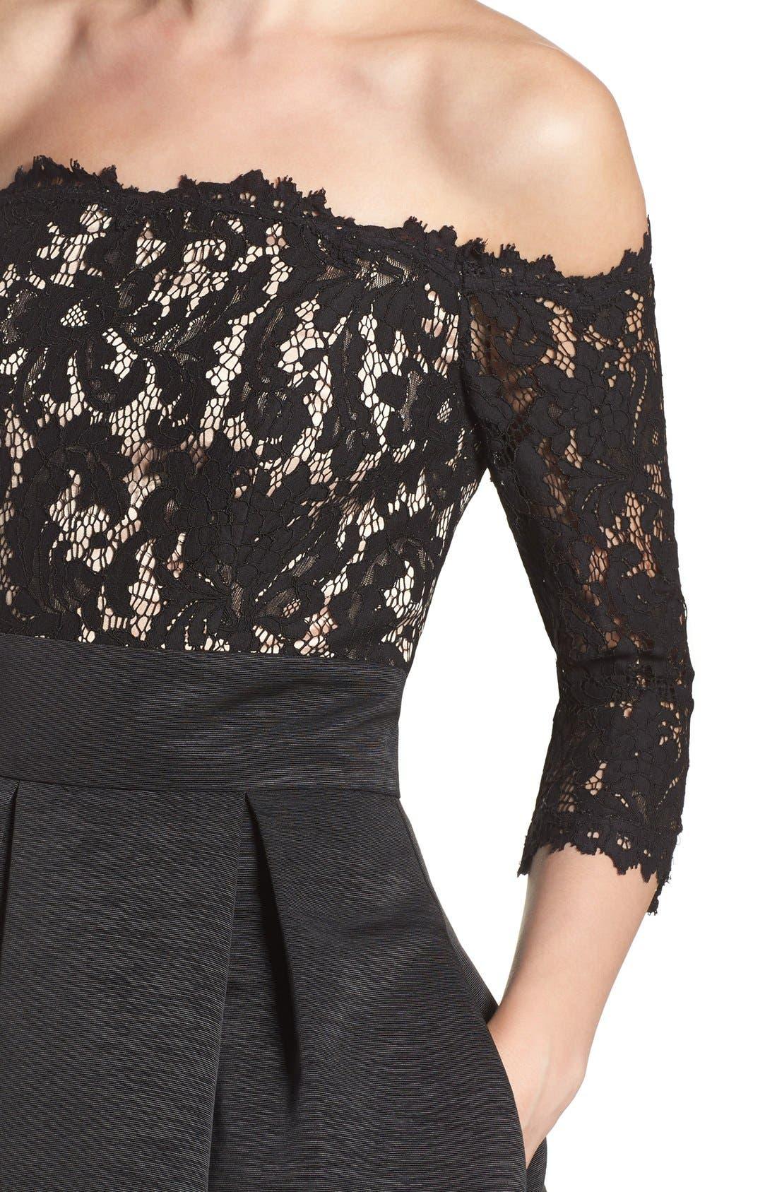 Off the Shoulder A-Line Dress,                             Alternate thumbnail 13, color,                             BLACK