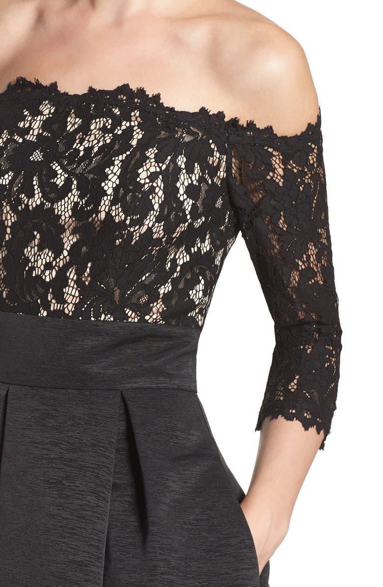 5e35df8852b79 Shop Eliza J Off The Shoulder Fit   Flare Cocktail Dress In Black