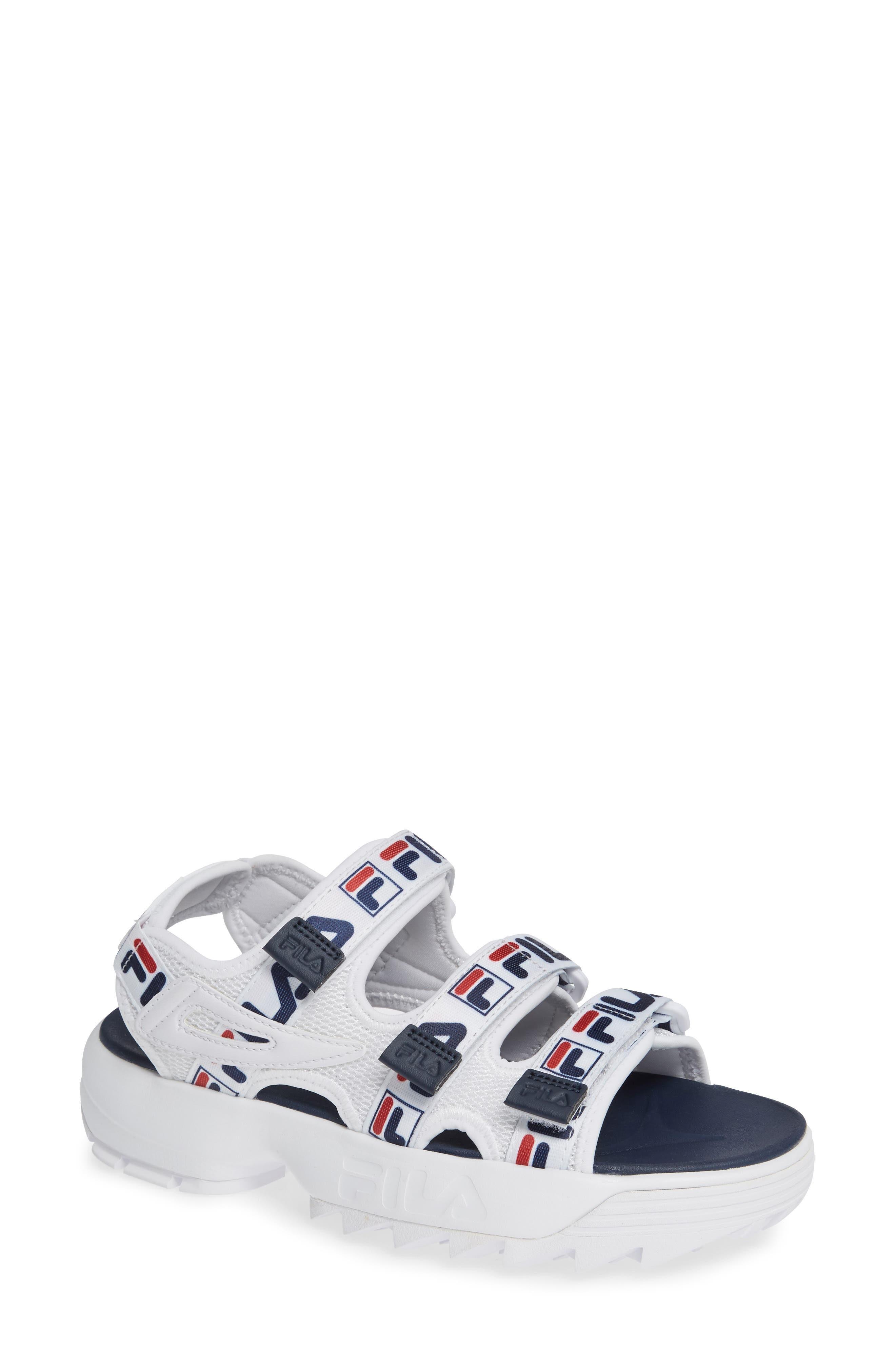 Disruptor Sandal,                             Main thumbnail 1, color,                             WHITE/ FILA NAVY