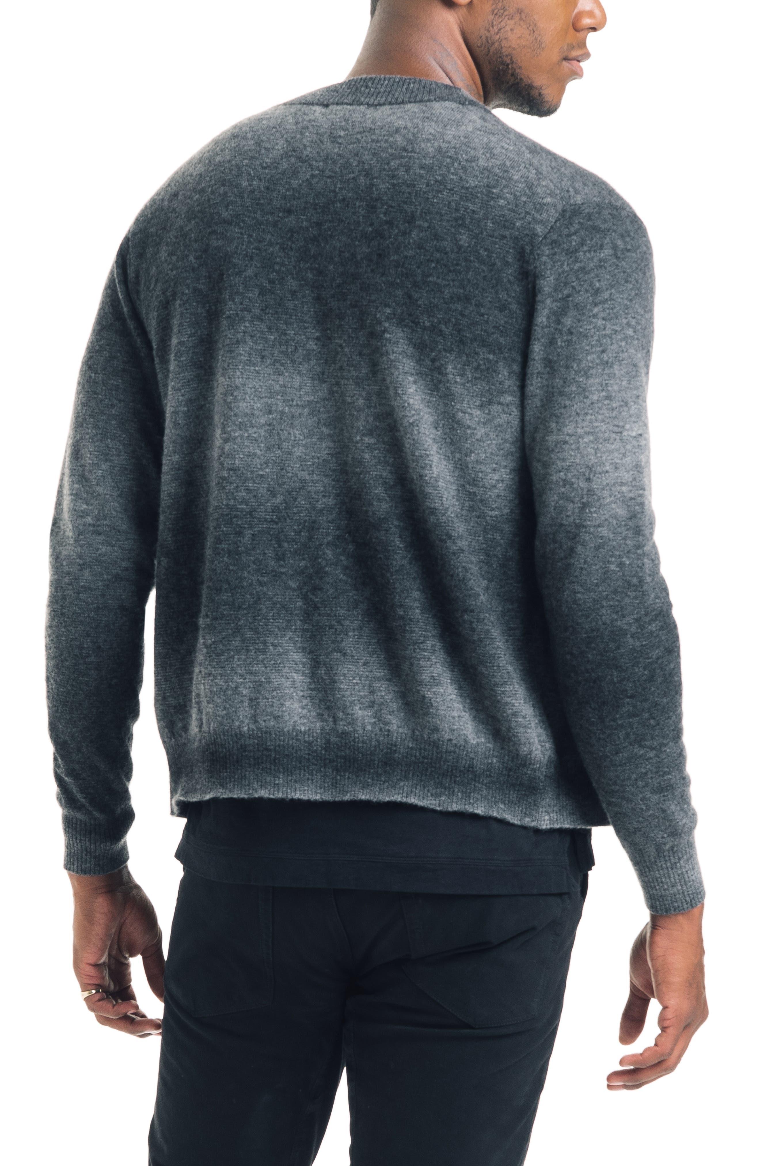 Modern Slim Fit Merino Wool Blend Cardigan,                             Alternate thumbnail 2, color,                             BLACK / GREY