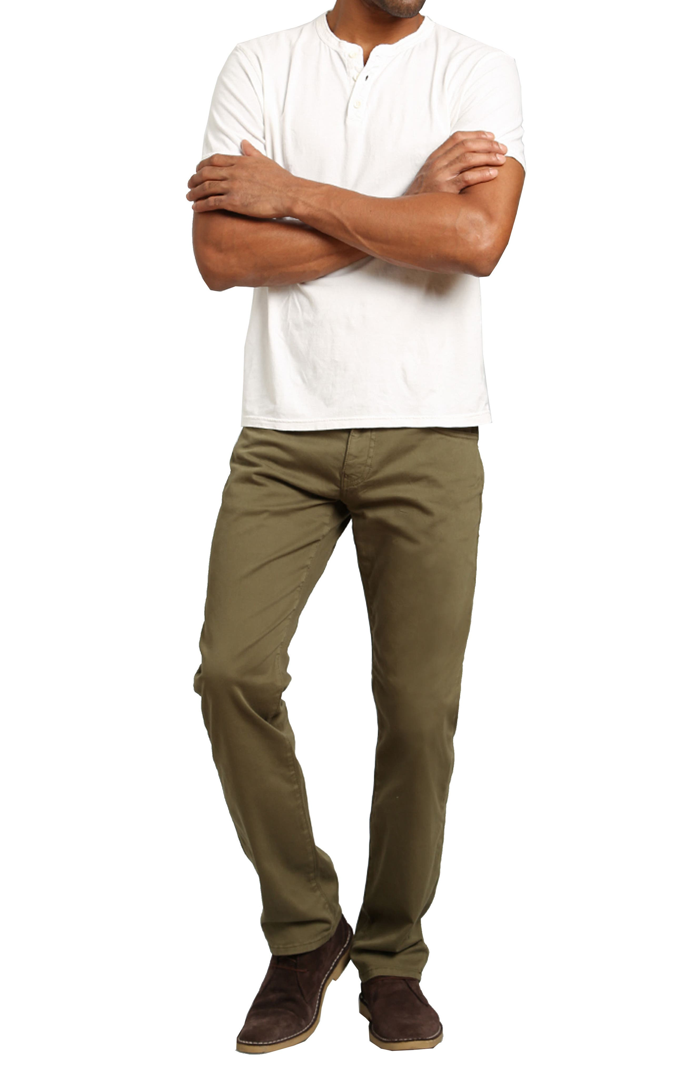 Zach Straight Fit Twill Pants,                             Alternate thumbnail 4, color,                             GREEN OLIVE TWILL