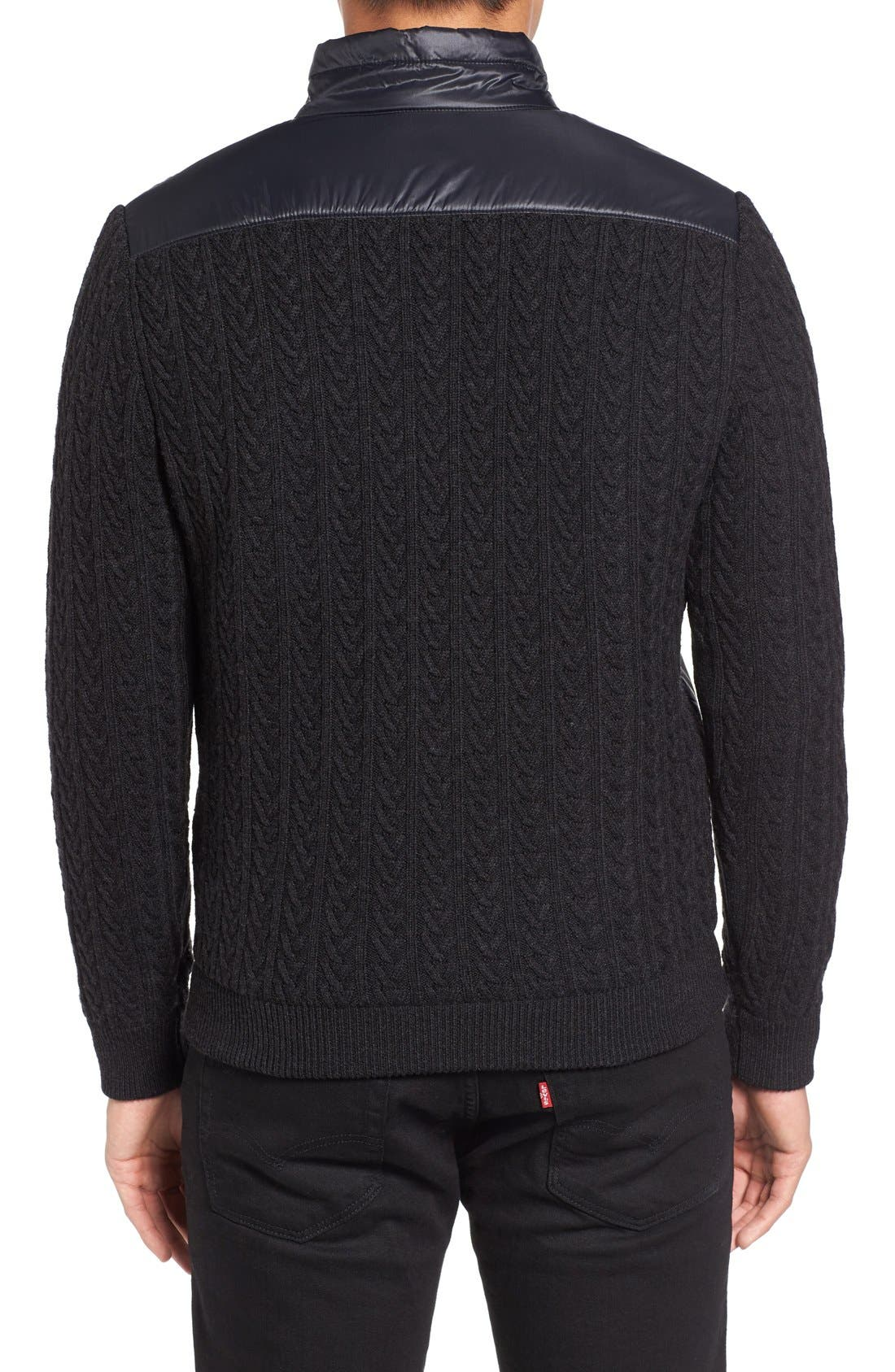 'Beacon' Trim Fit Quilted Cable Knit Zip Sweater,                             Alternate thumbnail 2, color,                             001