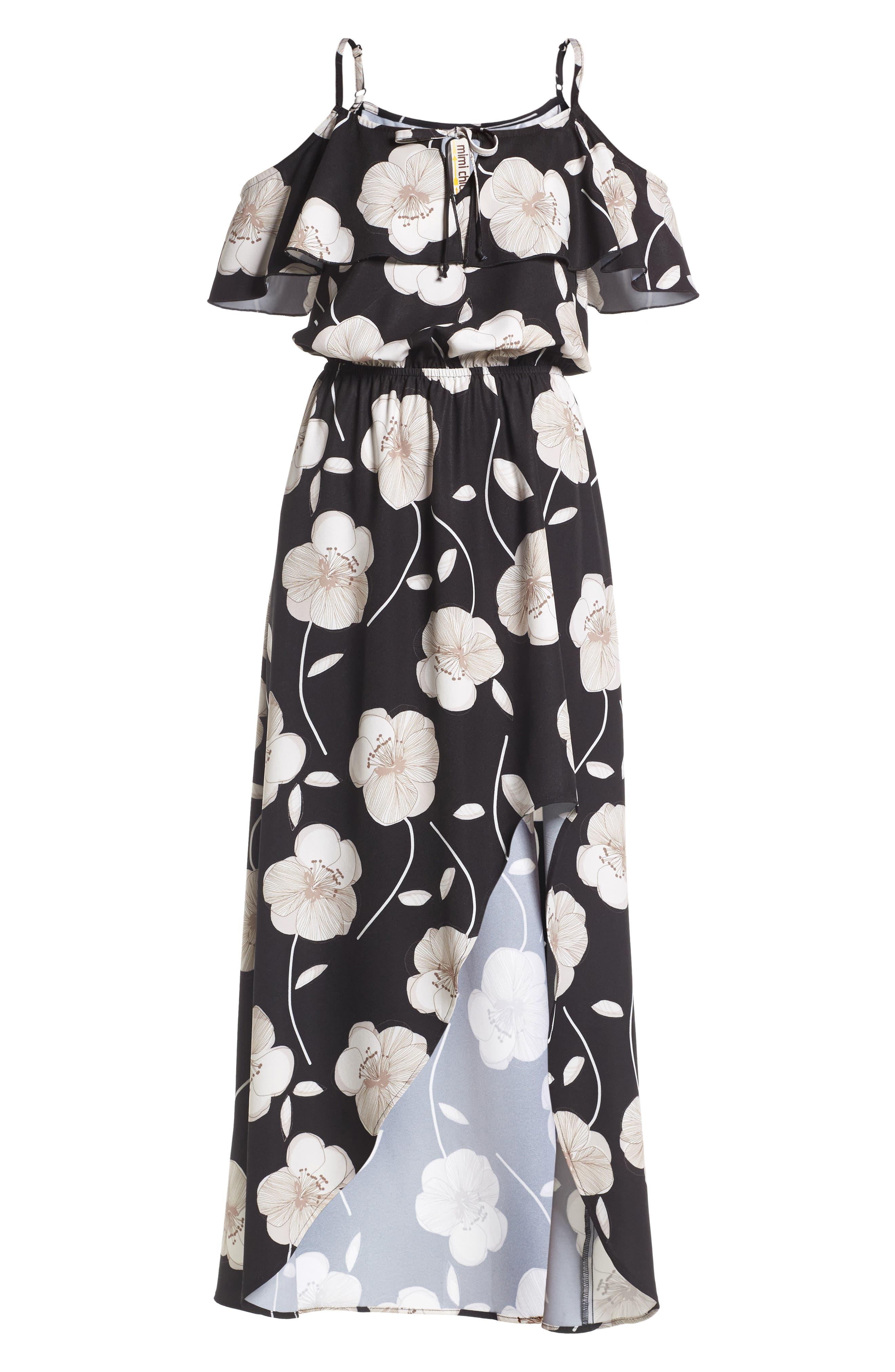 Cold Shoulder Asymmetrical Maxi Dress,                             Alternate thumbnail 6, color,                             001