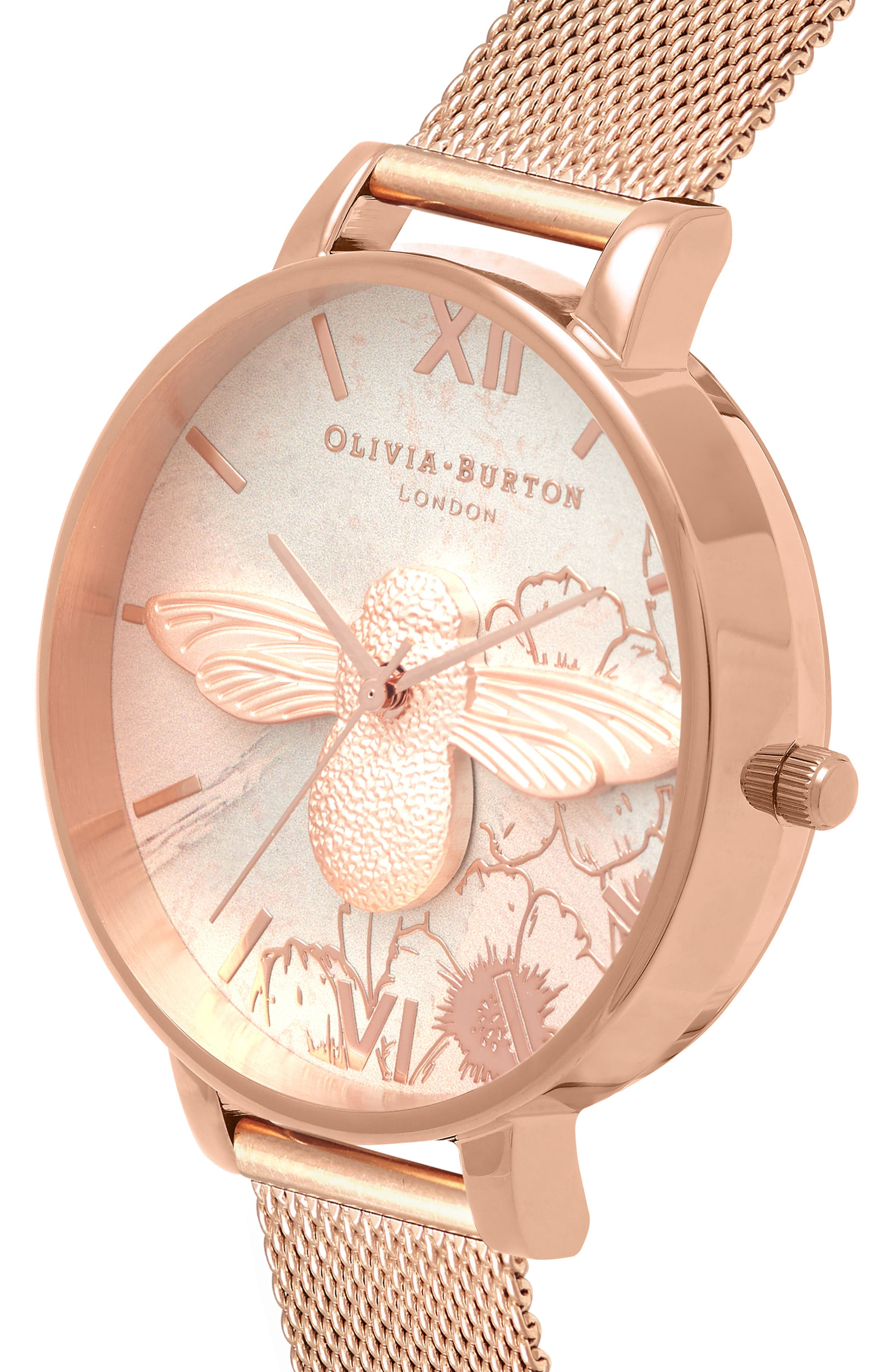 Abstract Floral Mesh Strap Watch, 38mm,                             Alternate thumbnail 3, color,                             ROSE GOLD/ FLORAL/ ROSE GOLD