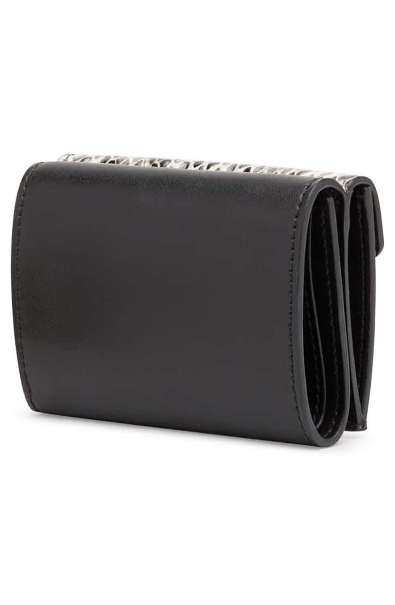 Kan I Leather & Genuine Snakeskin Trifold Wallet,                             Alternate thumbnail 3, color,                             NERO/ NATURAL/ ORO SOFT