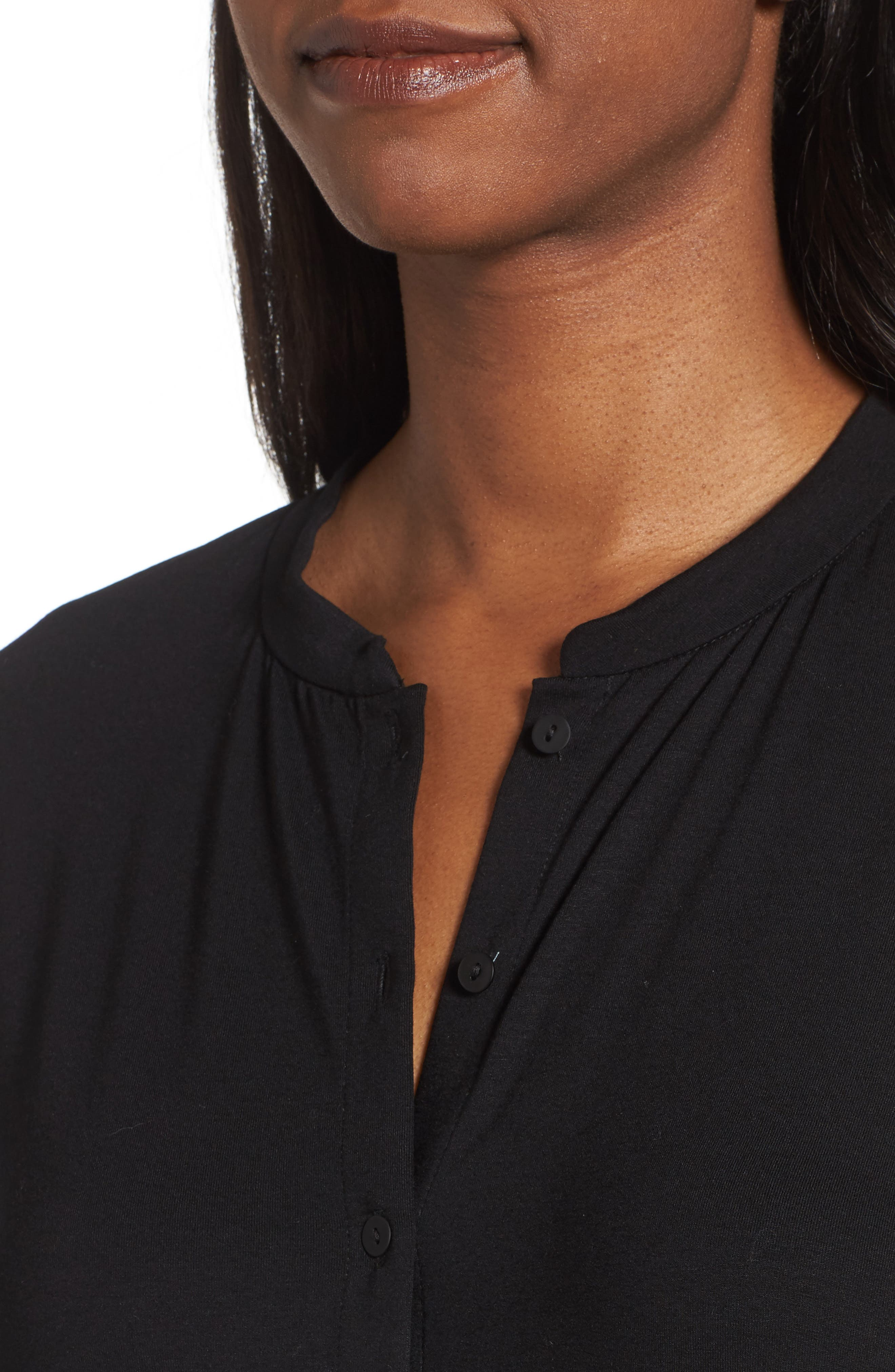 Button Front Jersey Tunic,                             Alternate thumbnail 4, color,                             001