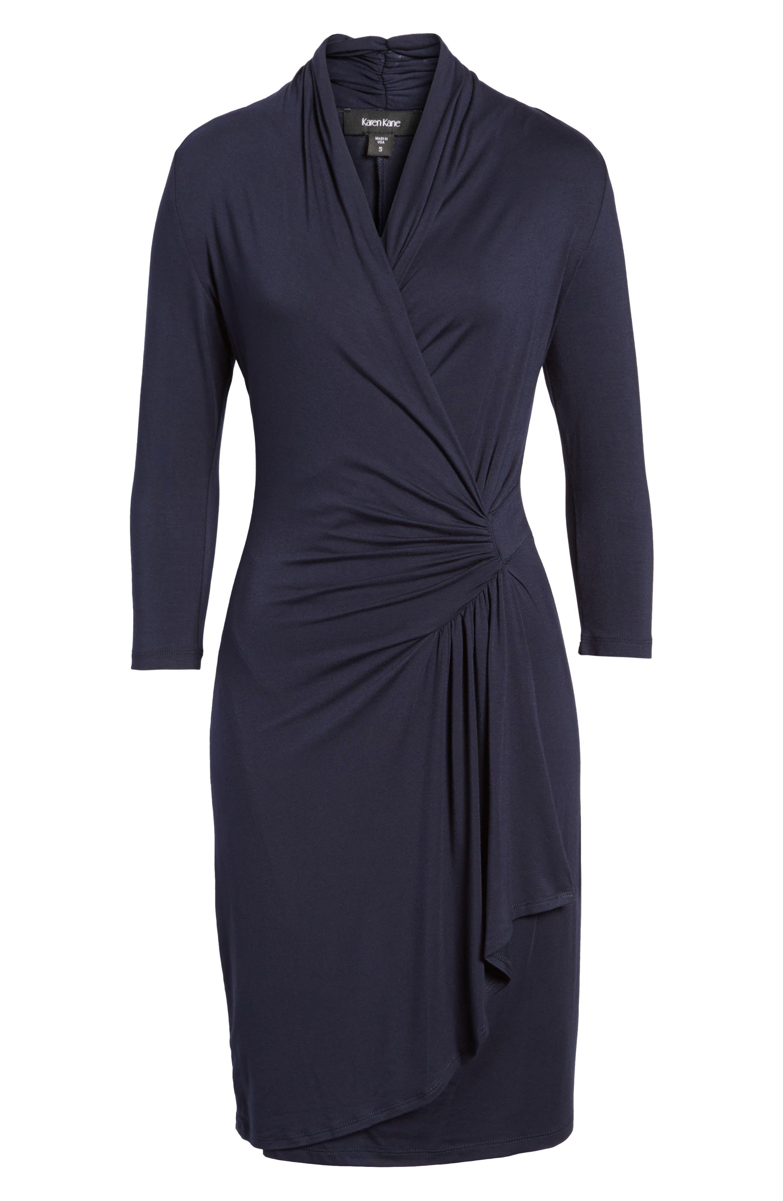 Cascade Faux Wrap Dress,                             Alternate thumbnail 5, color,                             NAVY