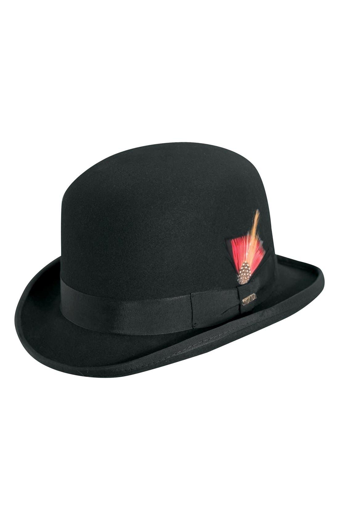 'Classico' Wool Felt Derby Hat,                             Main thumbnail 1, color,                             BLACK
