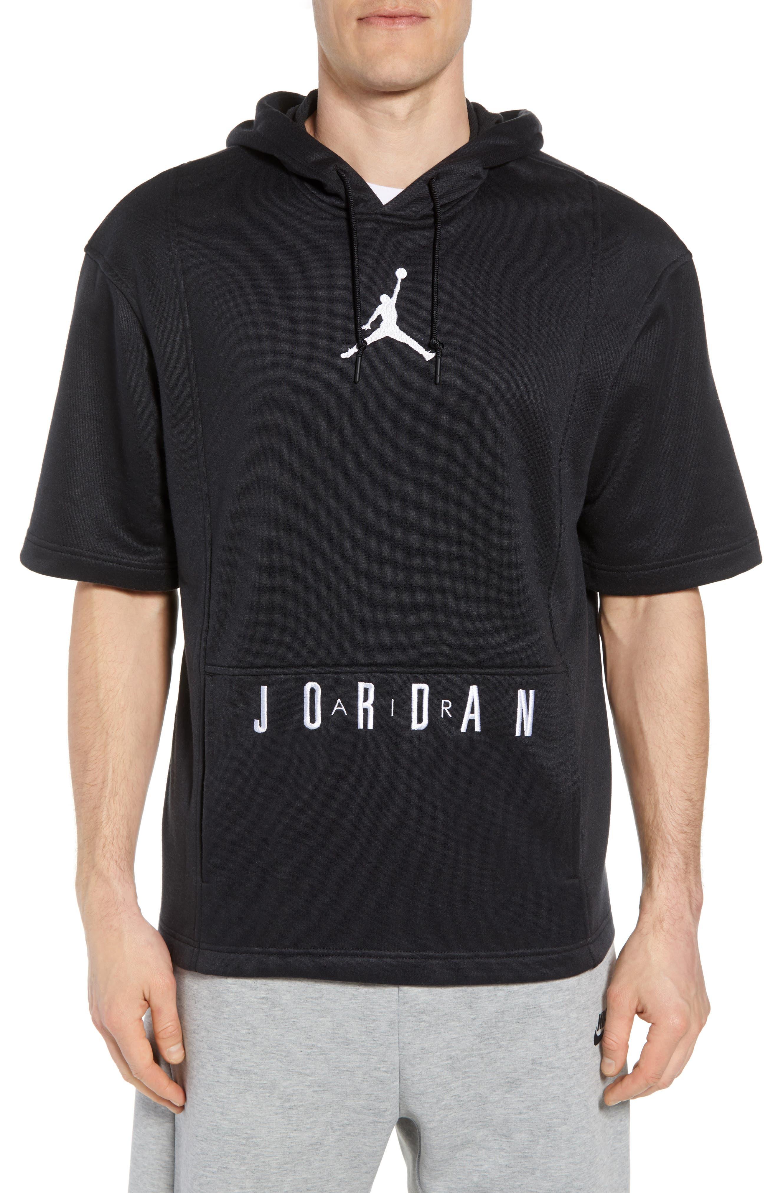 Nike Air Jordon Short Sleeve Basketball Hoodie,                             Main thumbnail 1, color,                             BLACK/ WHITE