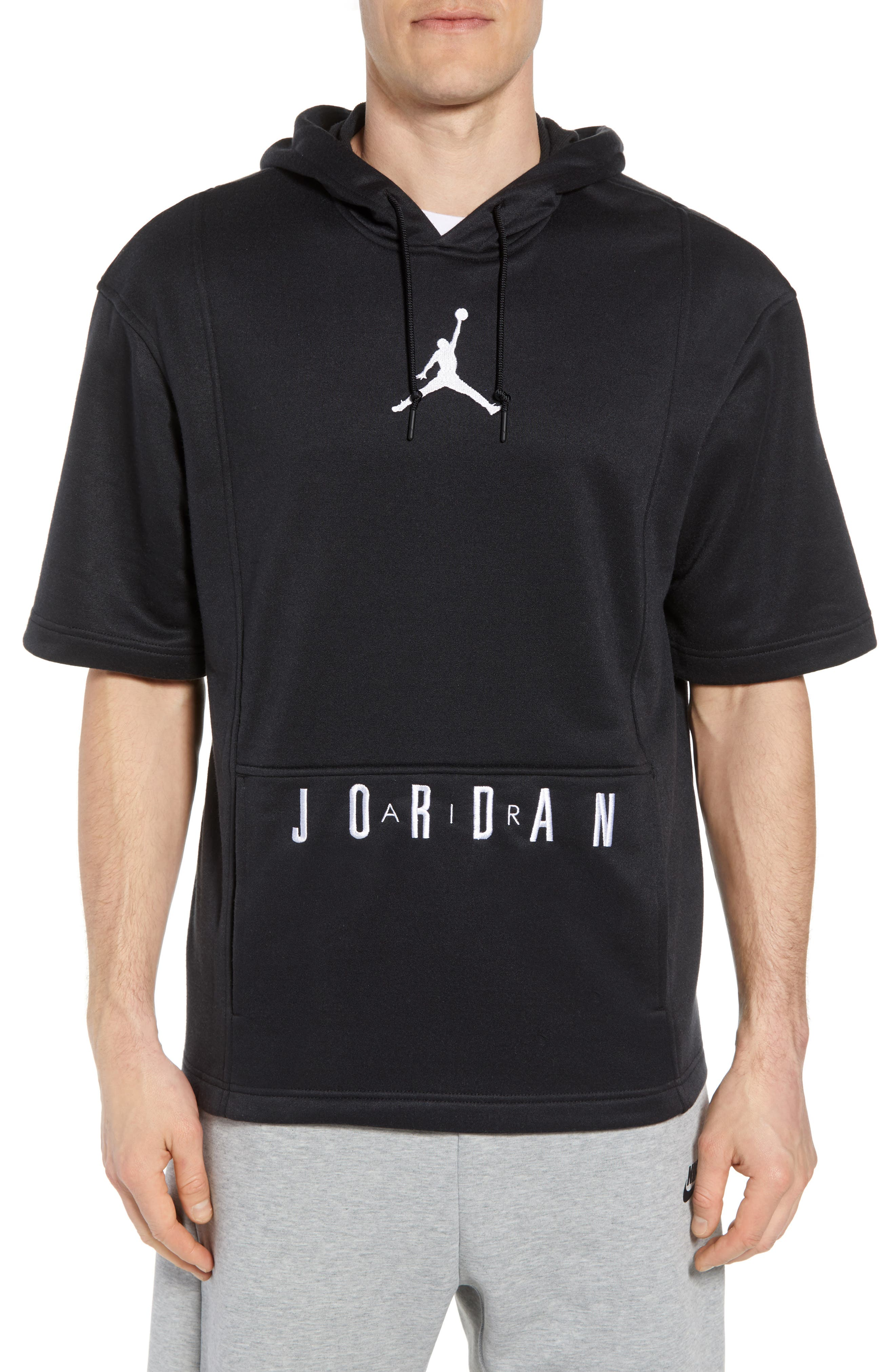 Nike Air Jordon Short Sleeve Basketball Hoodie,                         Main,                         color, BLACK/ WHITE