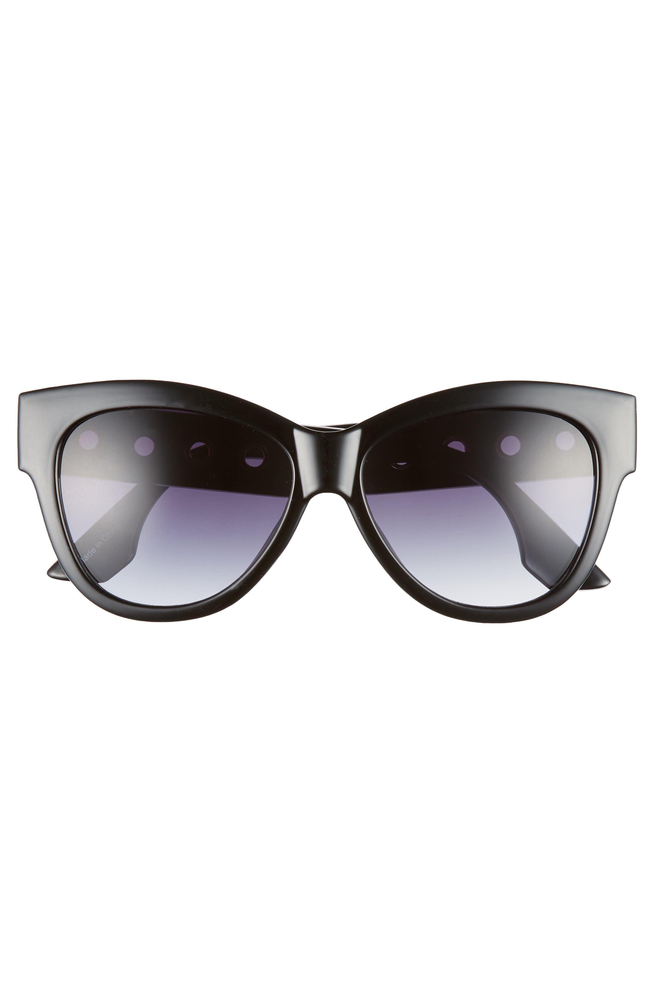61mm Grommet Detail Square Sunglasses,                             Alternate thumbnail 3, color,                             BLACK/ SILVER