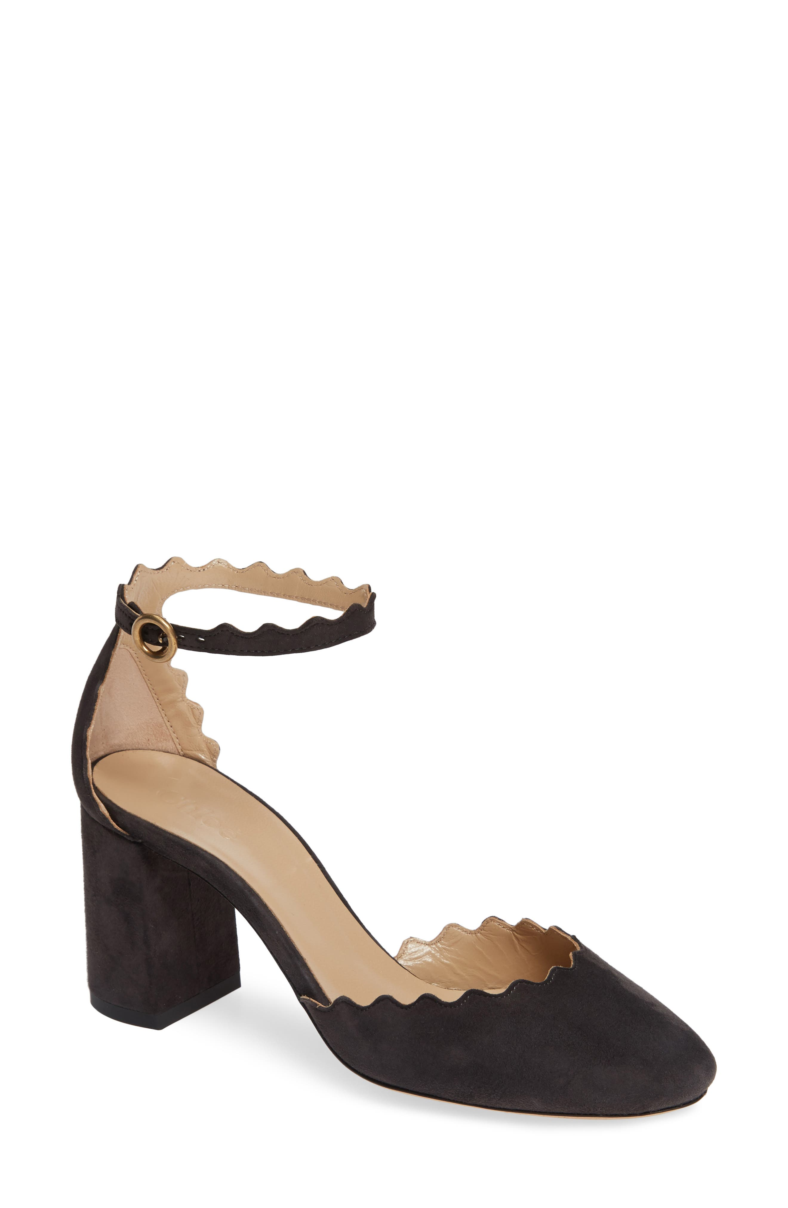 Scalloped Ankle Strap d'Orsay Pump,                             Main thumbnail 1, color,                             CHARCOAL BLACK