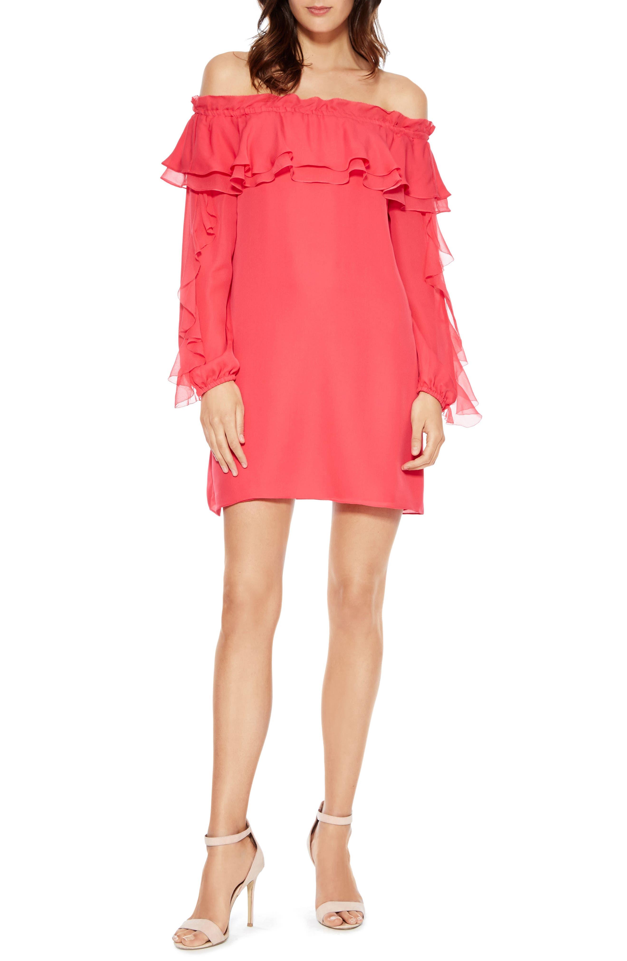 Isa Combo Silk Dress,                             Main thumbnail 1, color,                             PRISM PINK