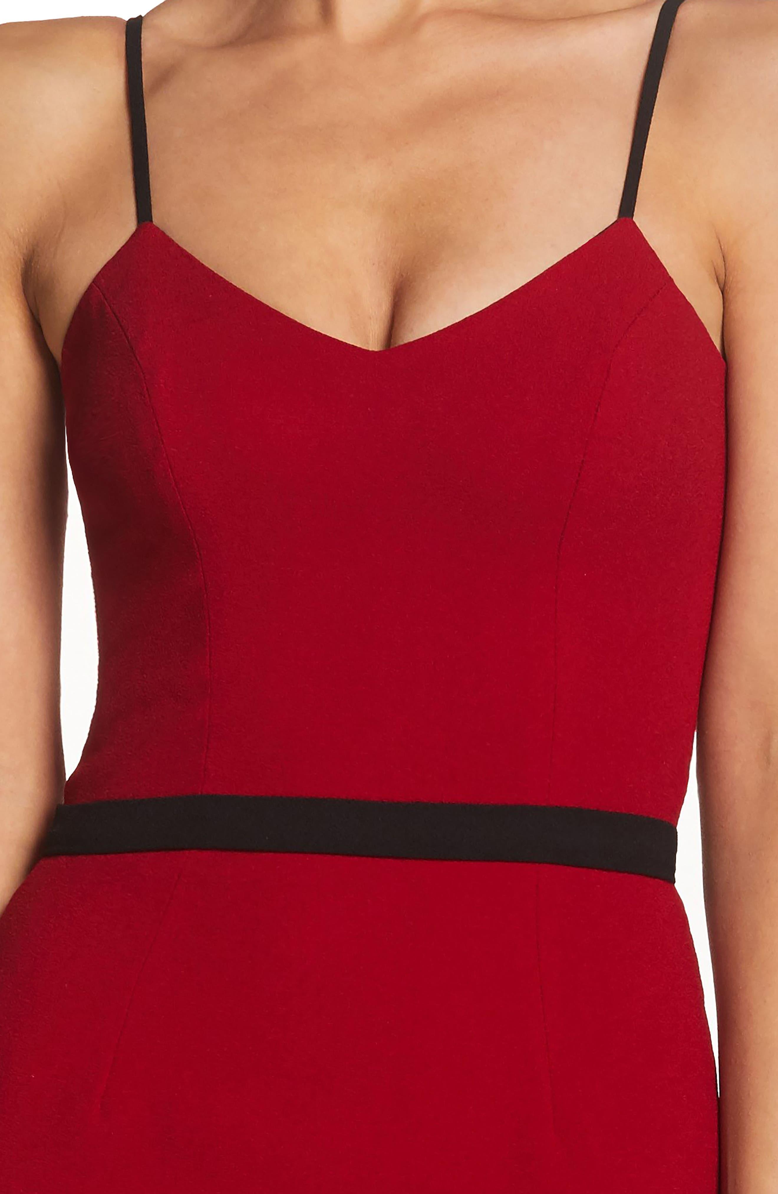 Emma Spaghetti Strap Body-Con Dress,                             Alternate thumbnail 4, color,                             GARNET