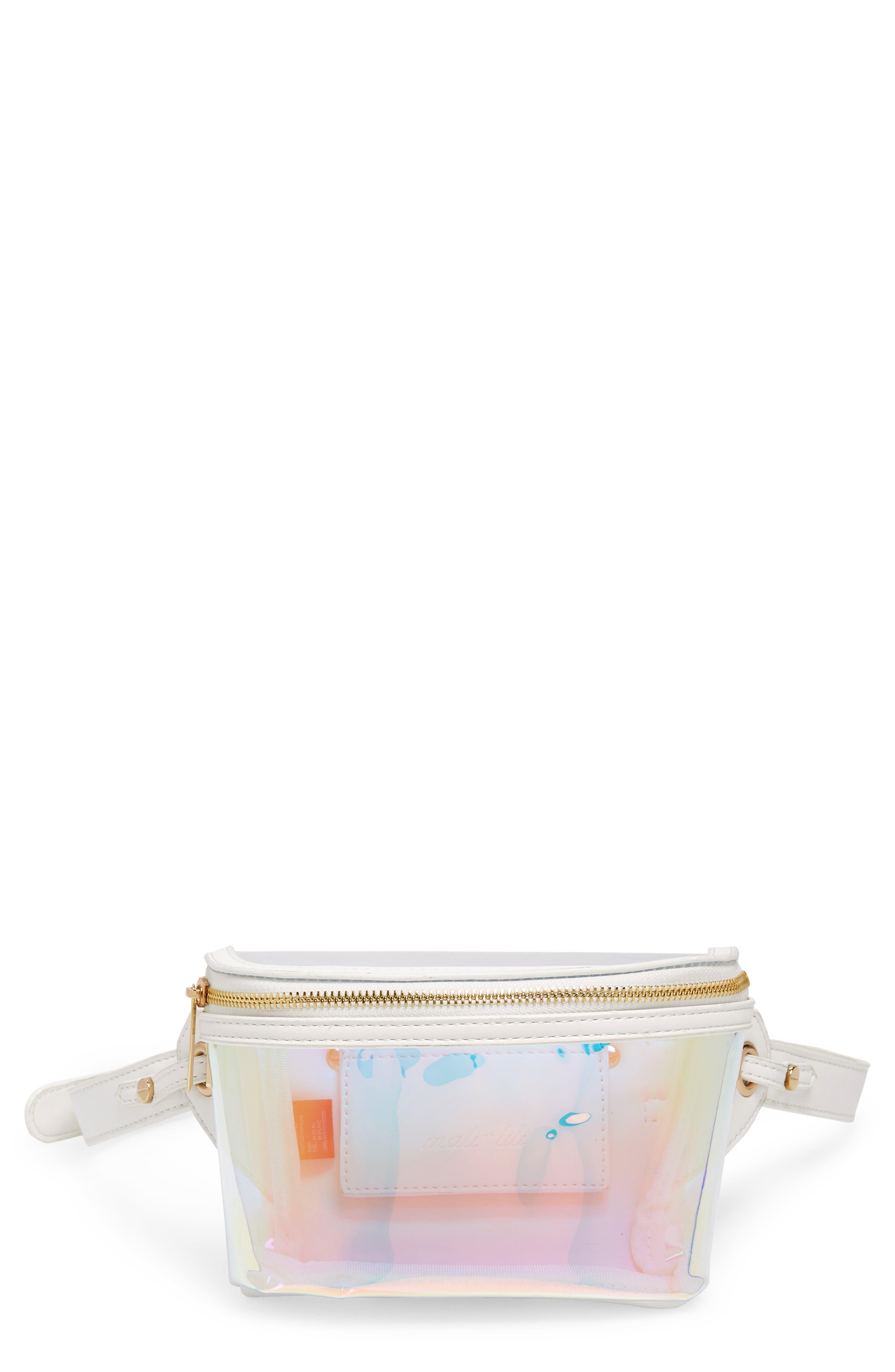 Irina Clear Belt Bag,                             Main thumbnail 1, color,                             HOLOGRAPHIC/ WHITE