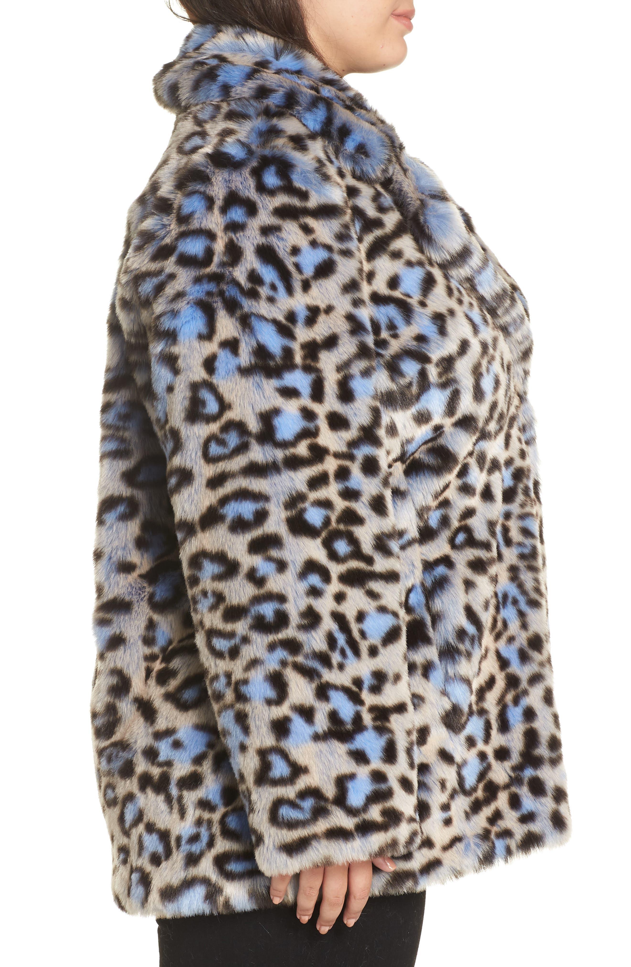 Animal Print Faux Fur Coat,                             Alternate thumbnail 3, color,                             BLUE LEOPARD