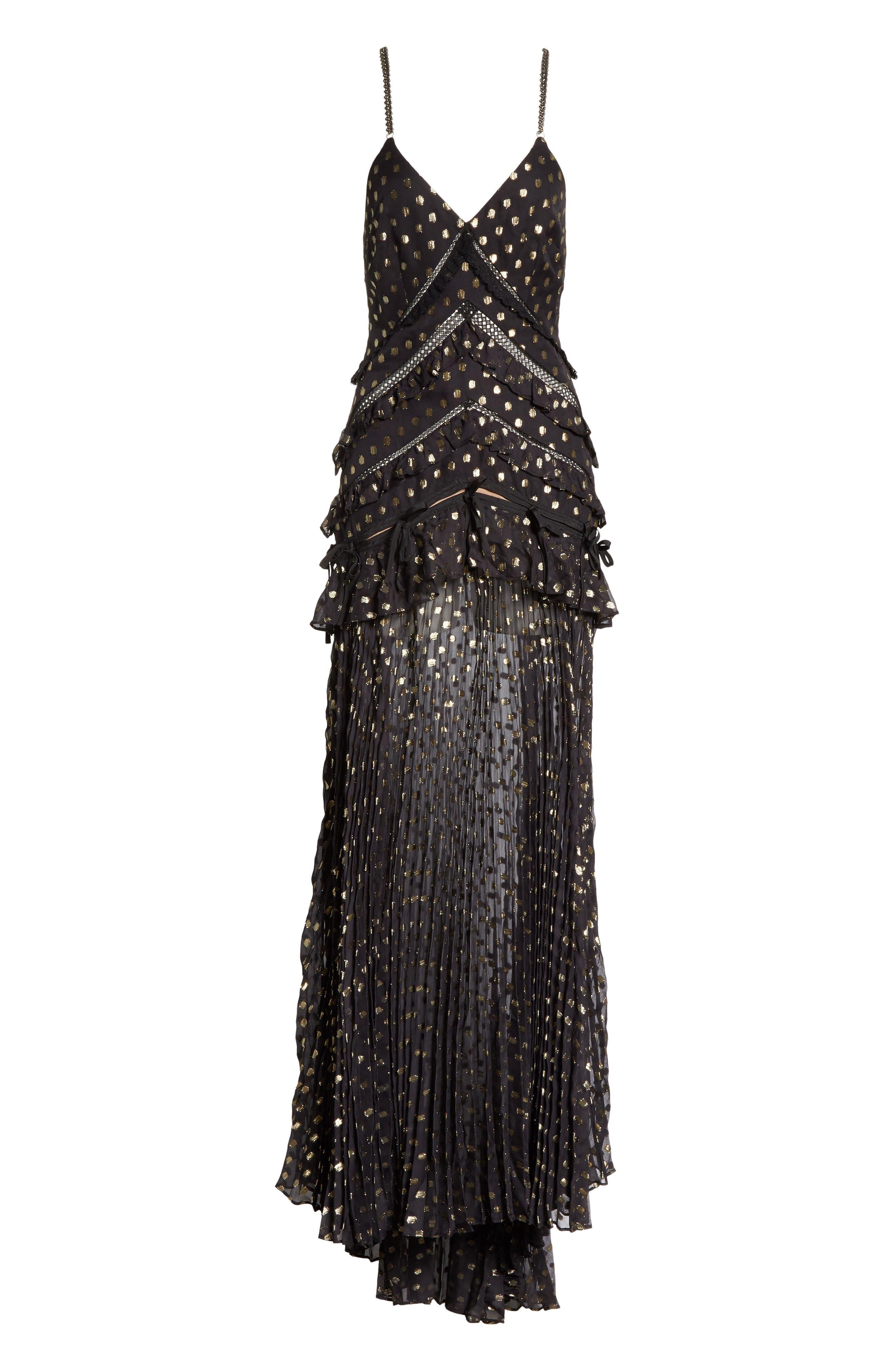 Metallic Polka Dot Chain Strap Dress,                             Alternate thumbnail 6, color,                             004