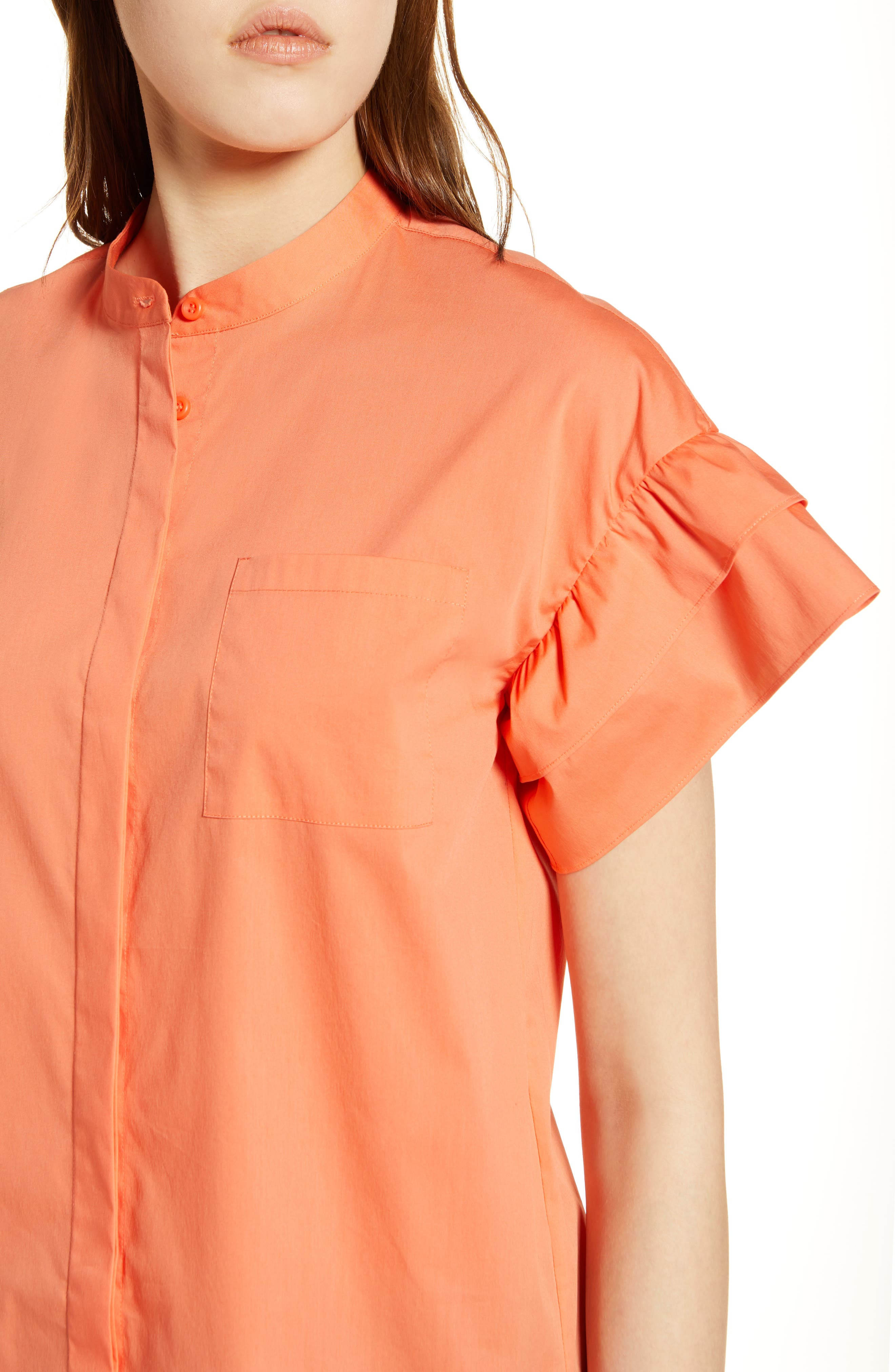 Ruffle Sleeve Stretch Cotton Blend Blouse,                             Alternate thumbnail 17, color,